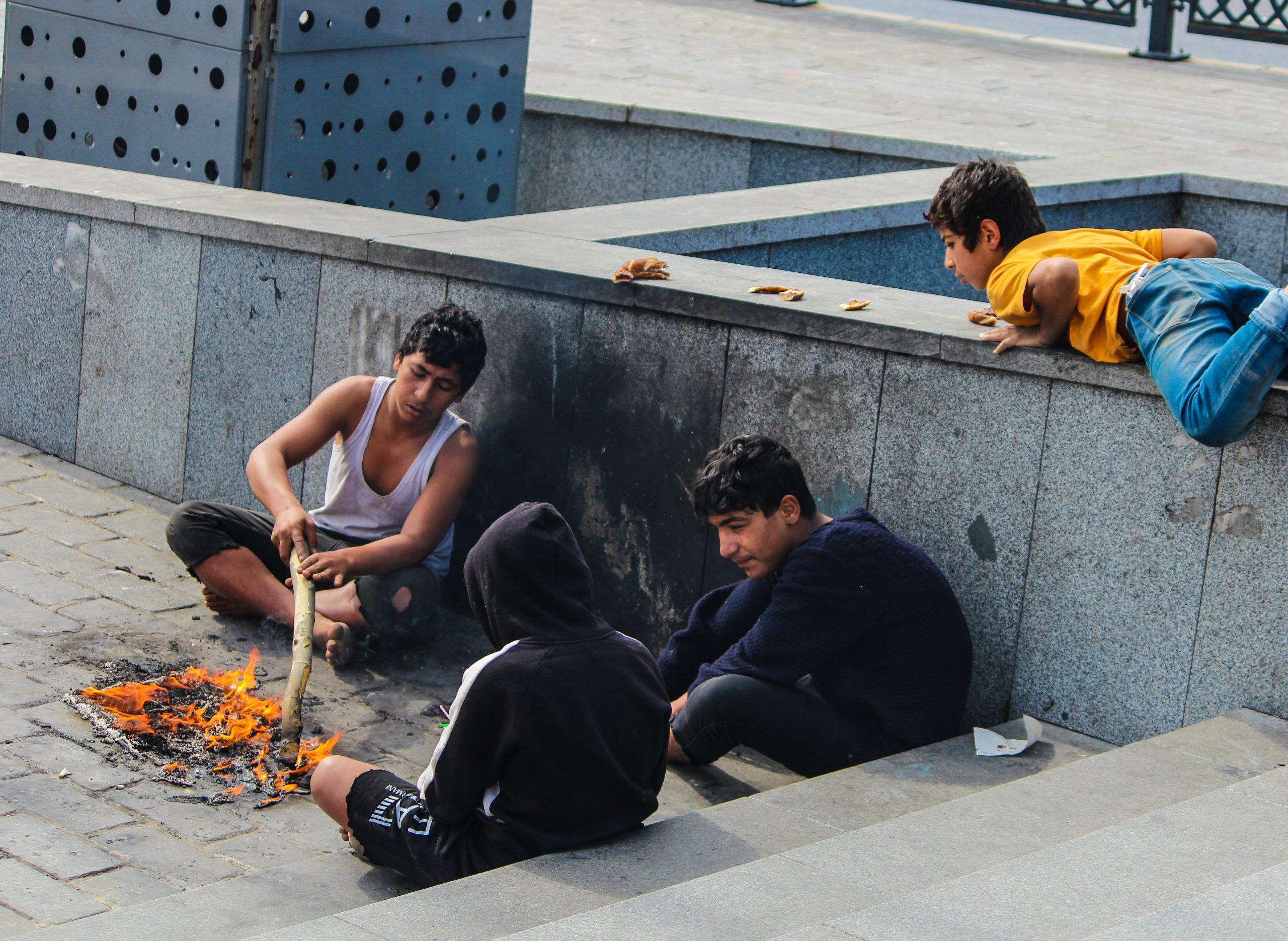 Street children burning fire