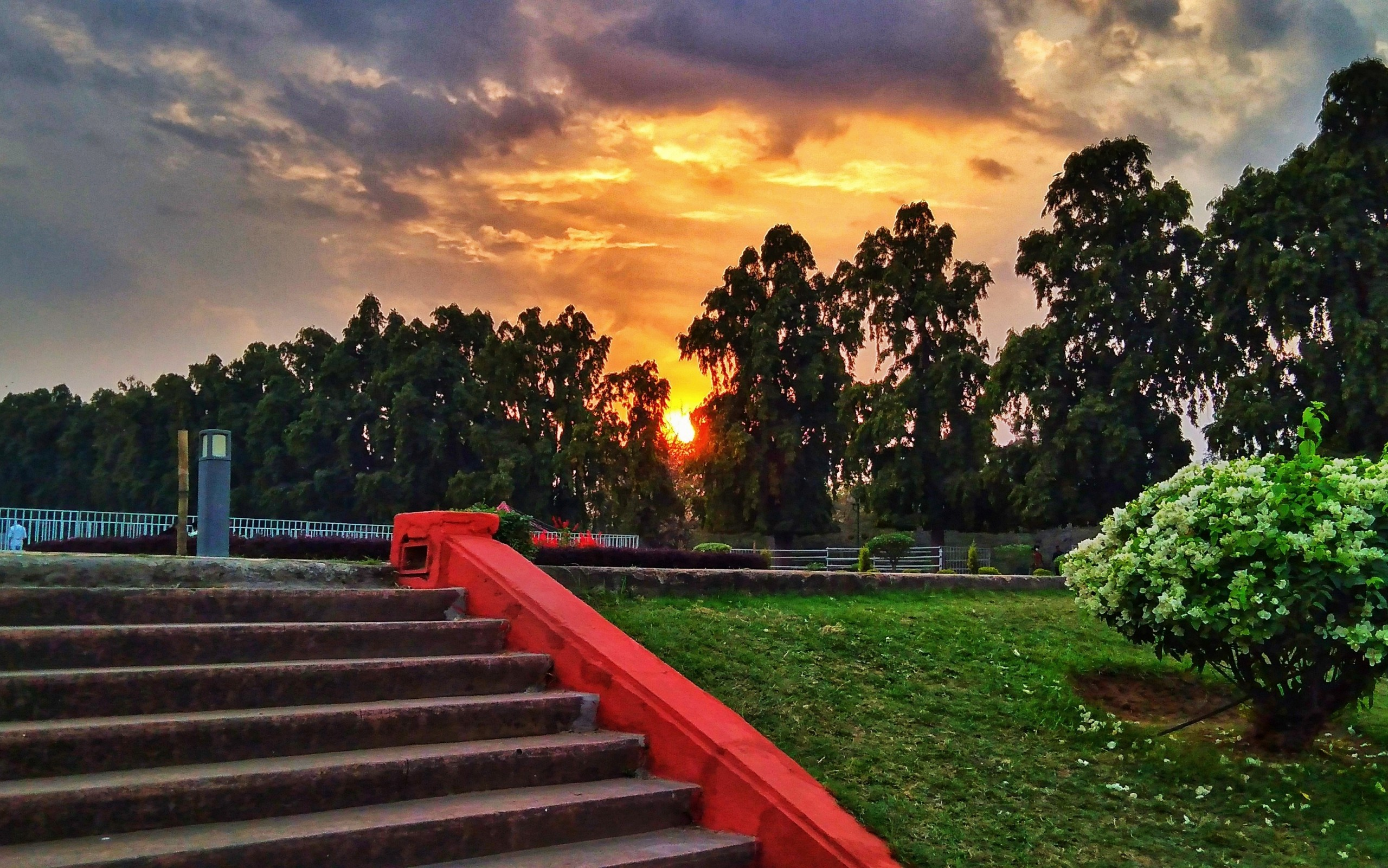 Sunset in the public park