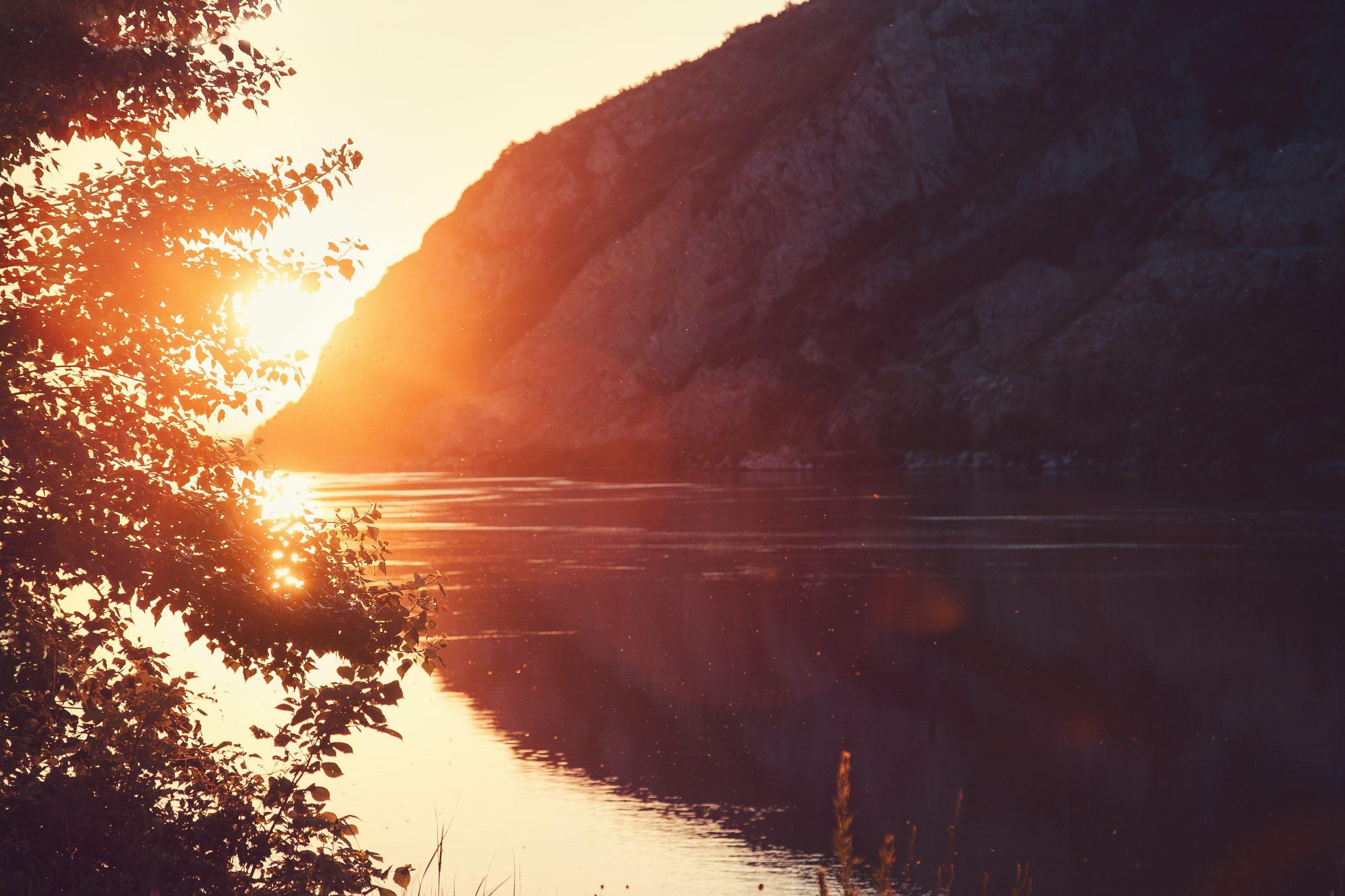 Sunset on Danube lake