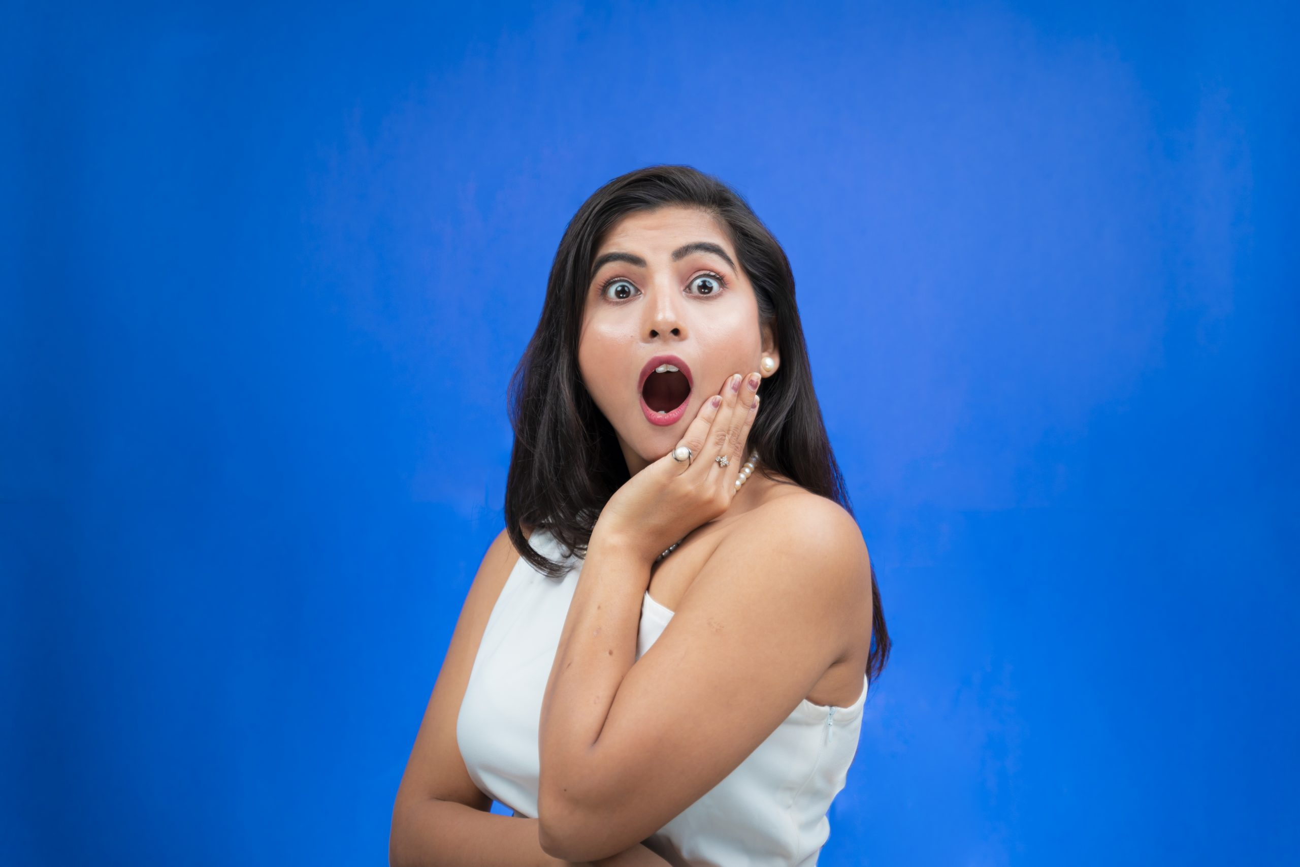 Woman with surprised reaction
