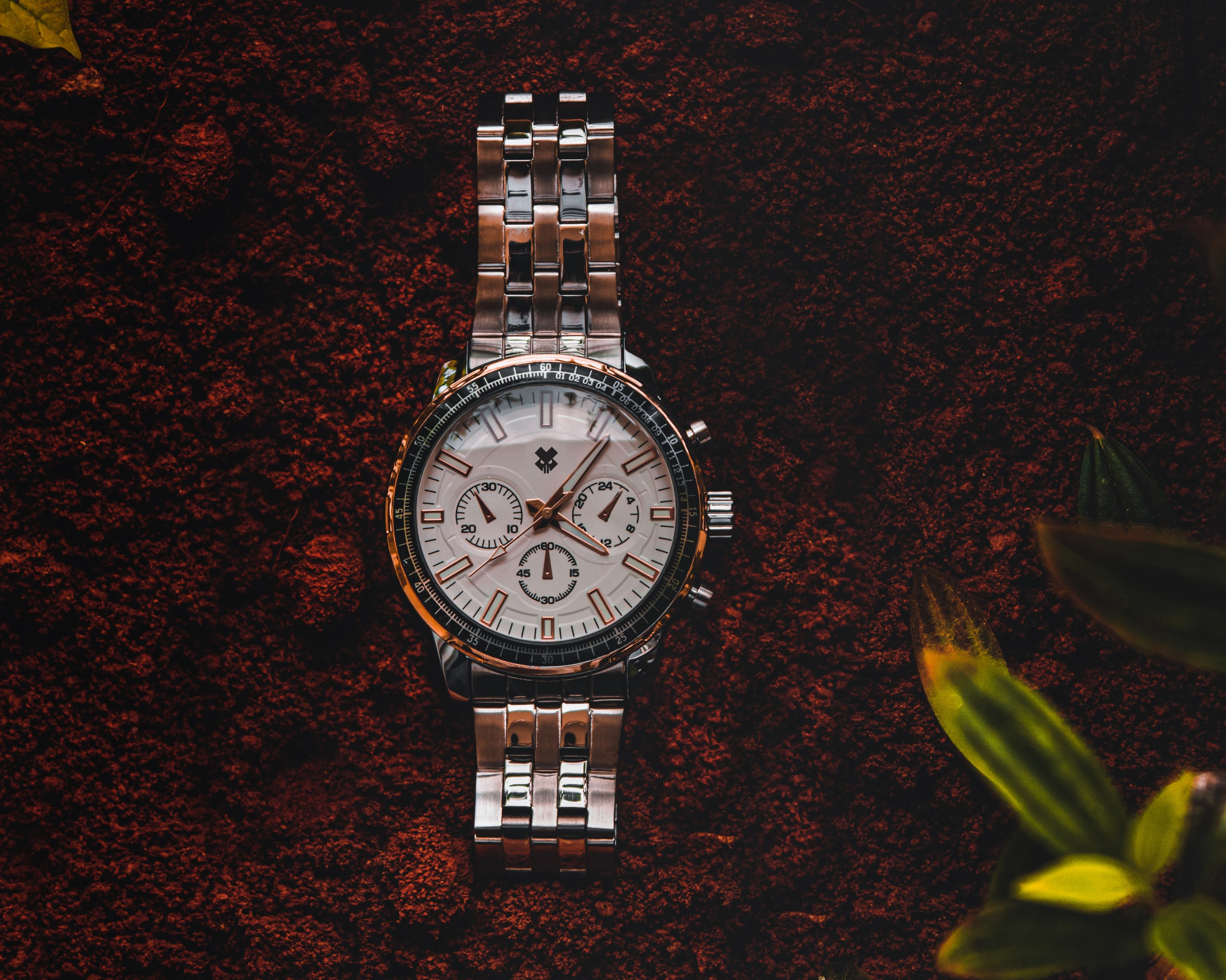 Silver Wristwatch Flat Lay on Focus