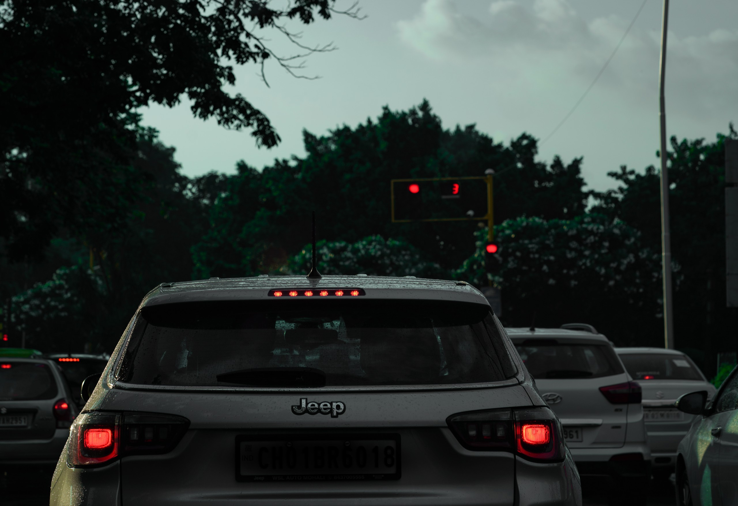 Transportation of cars on the road and red lights