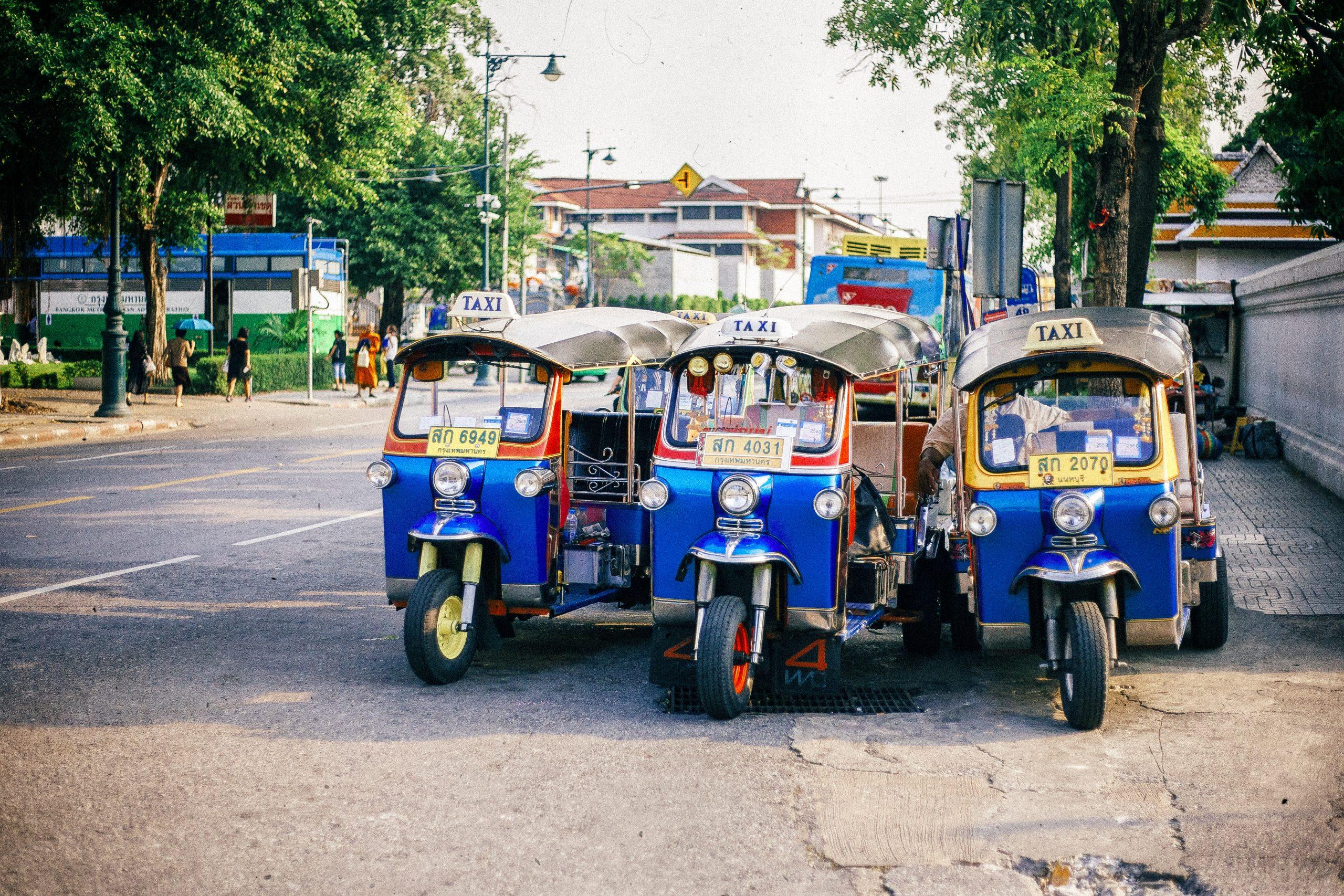 Tuk Tuks in Bangkok street