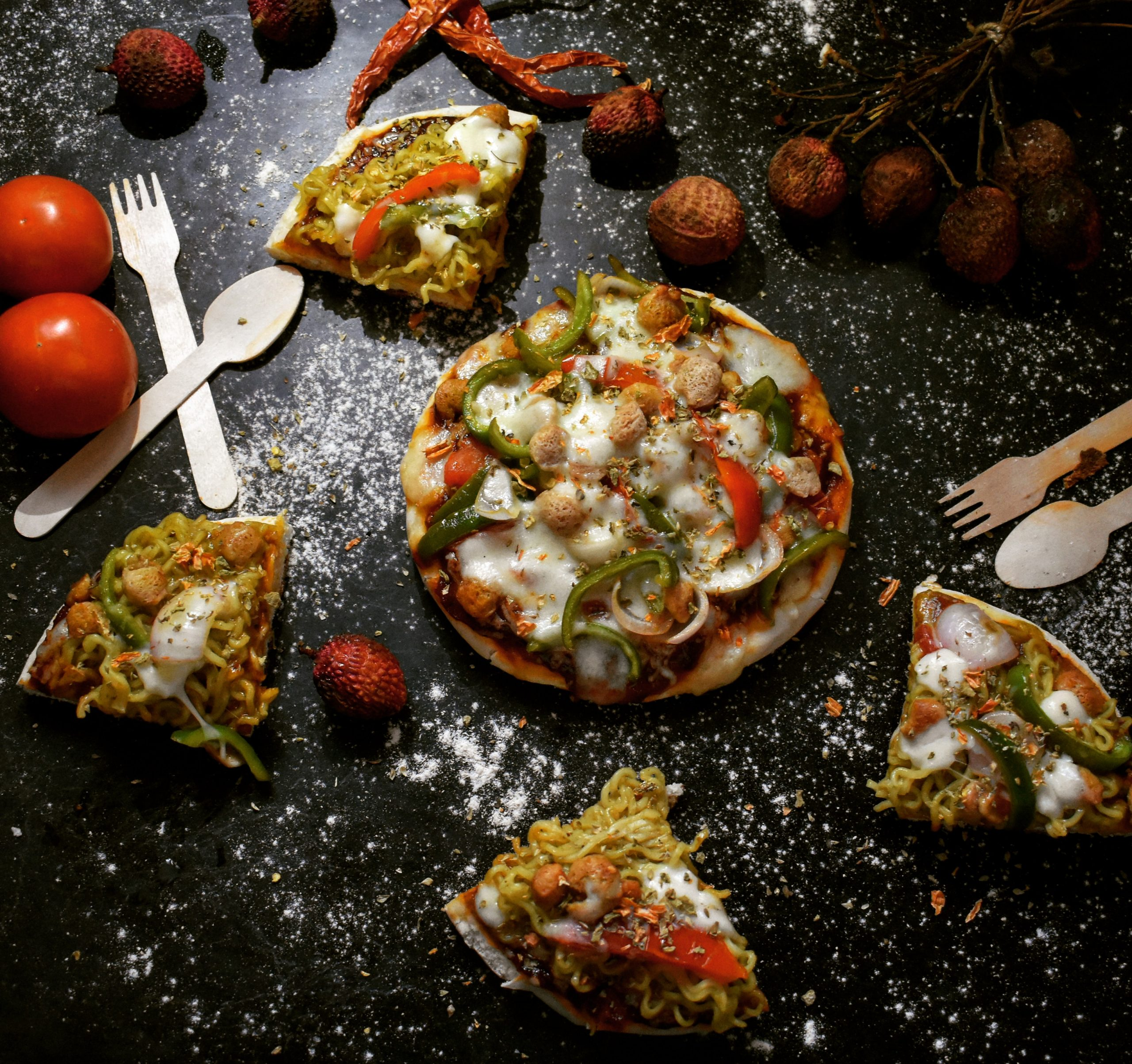 Veg Cheesy Pizza with Litchi and Tomato