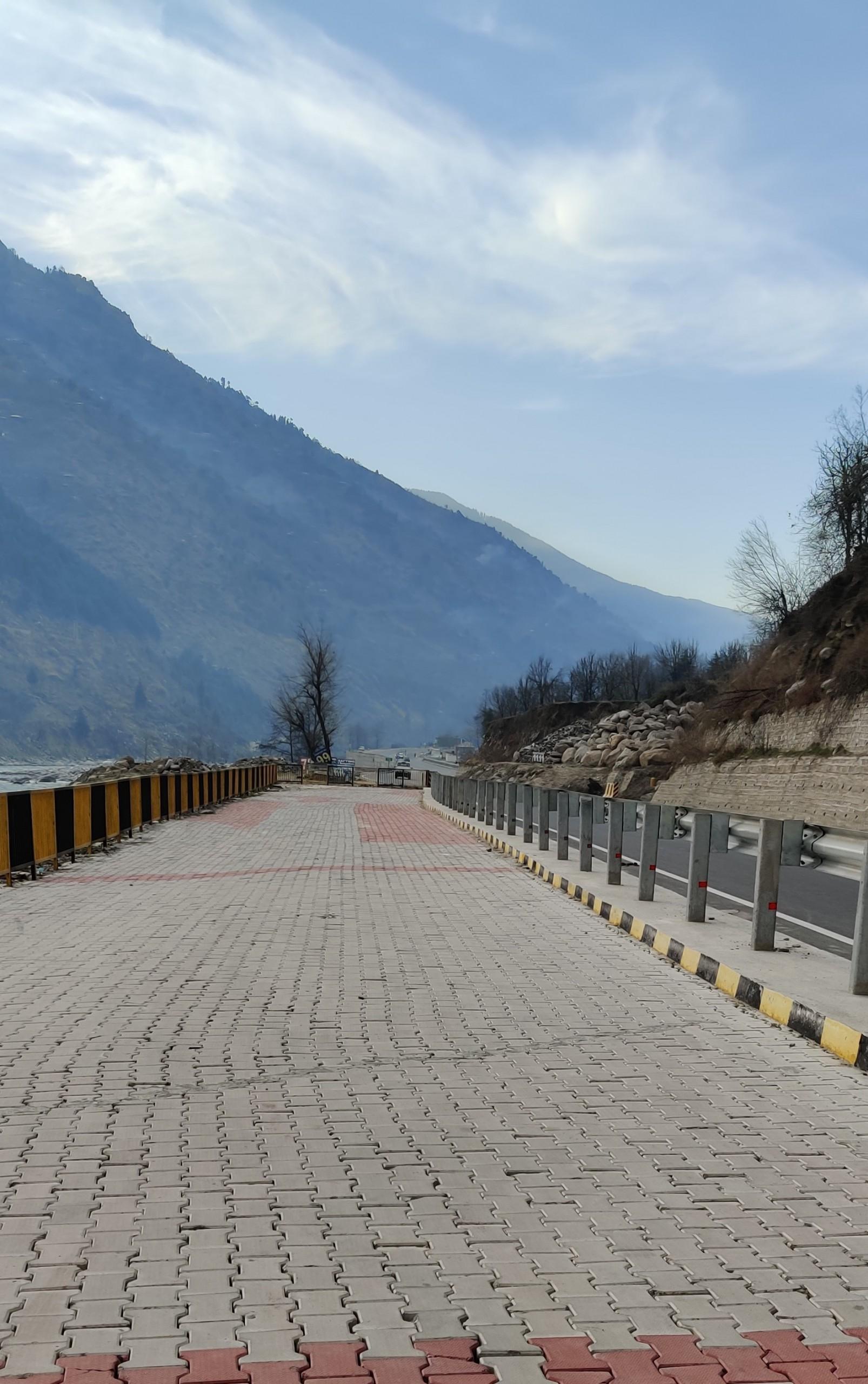 Walkway beside highway