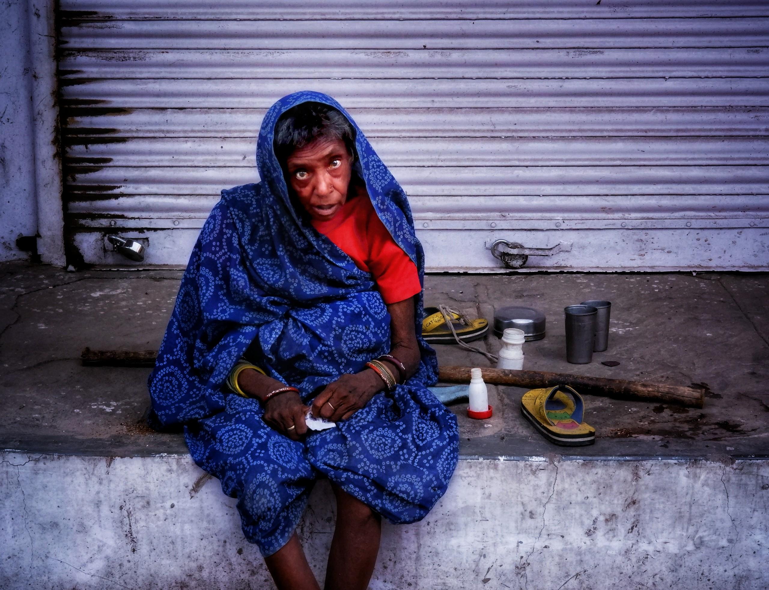 Homeless Woman Staring at the Camera