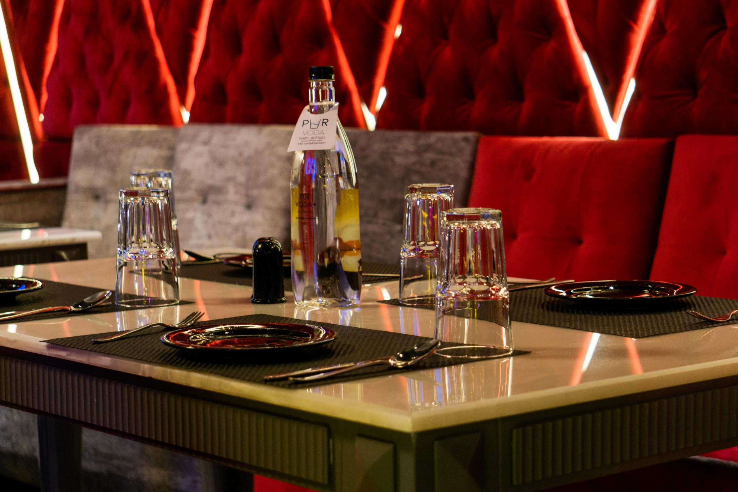 an empty restaurant table