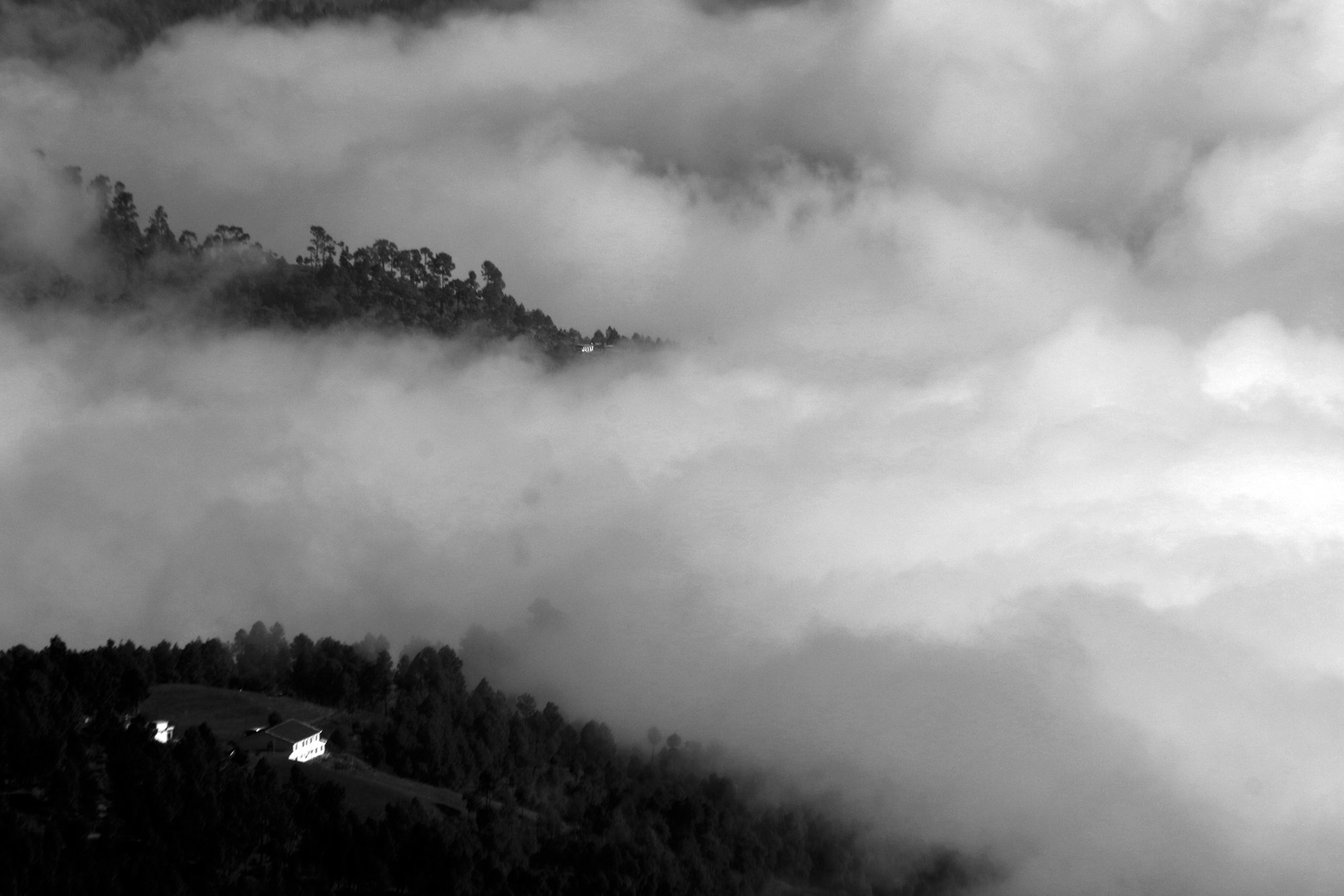 A Misty Mountain in Black and White