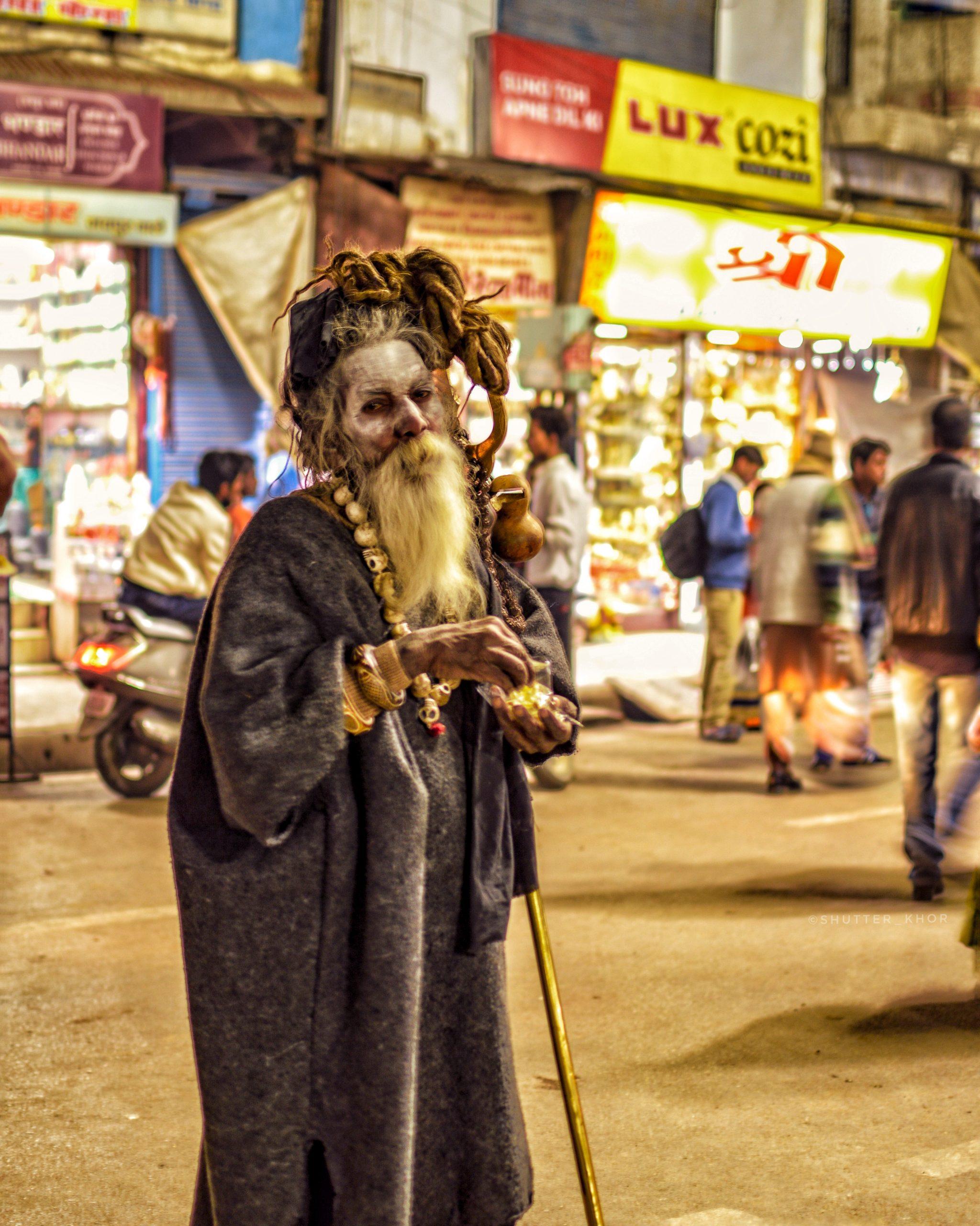 A Sadhu standing on a street