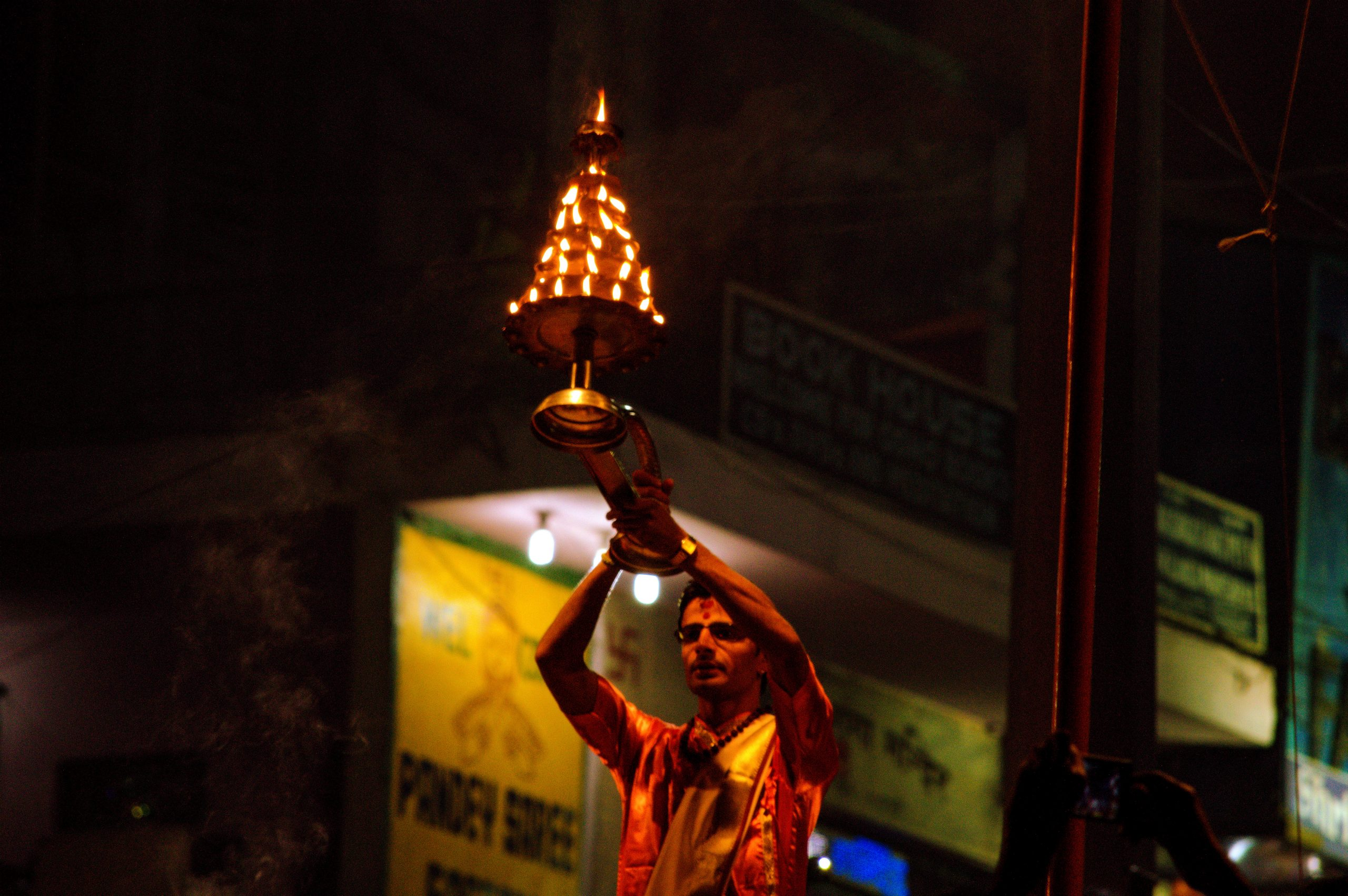 A boy during Ganga worship in Varanasi