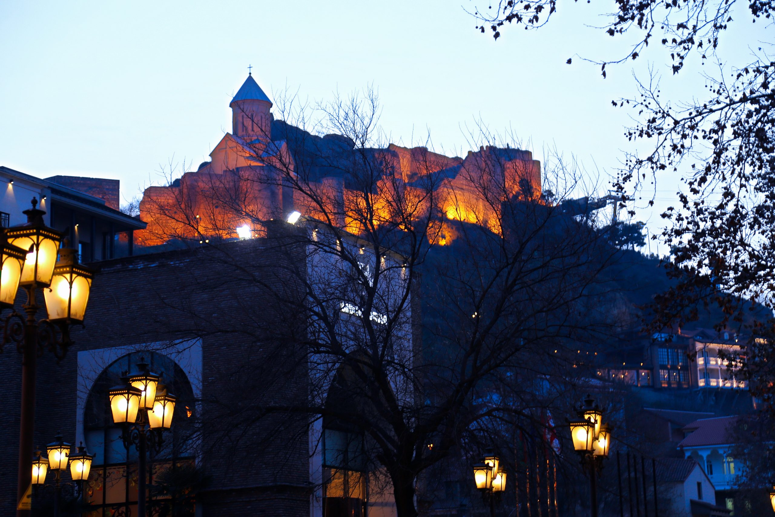 A castle's lighting in evening