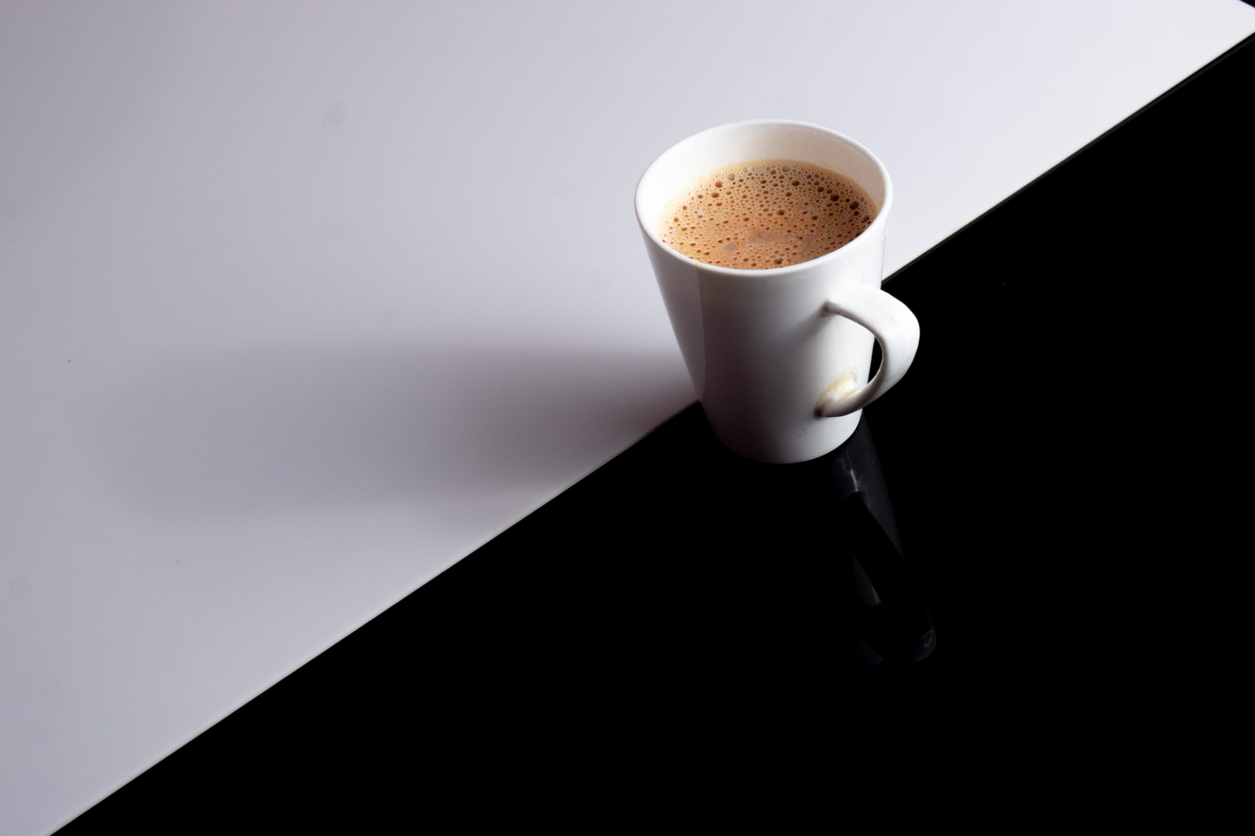 Cup of tea with black & white background