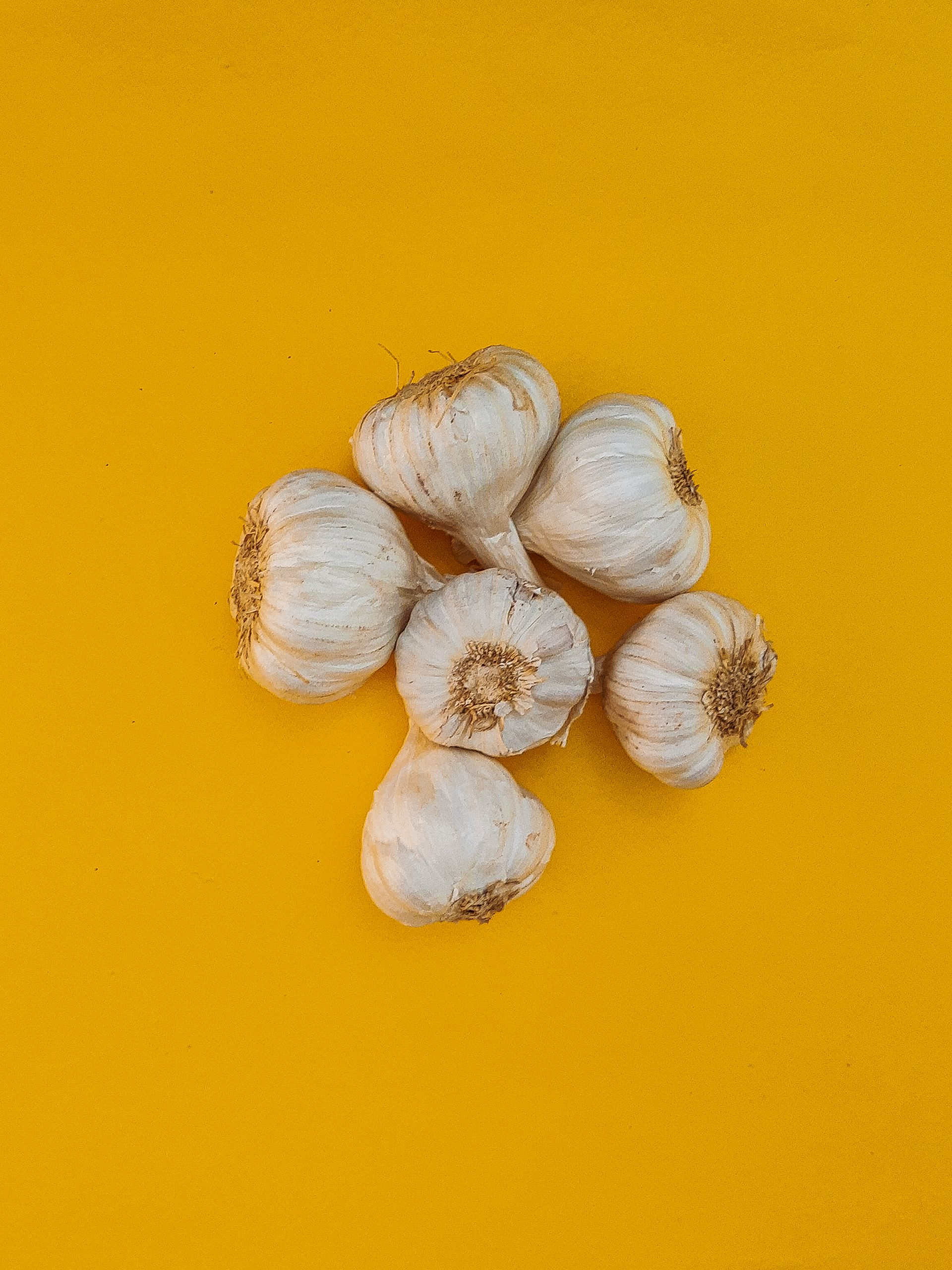 A flatlay style of fresh garlic
