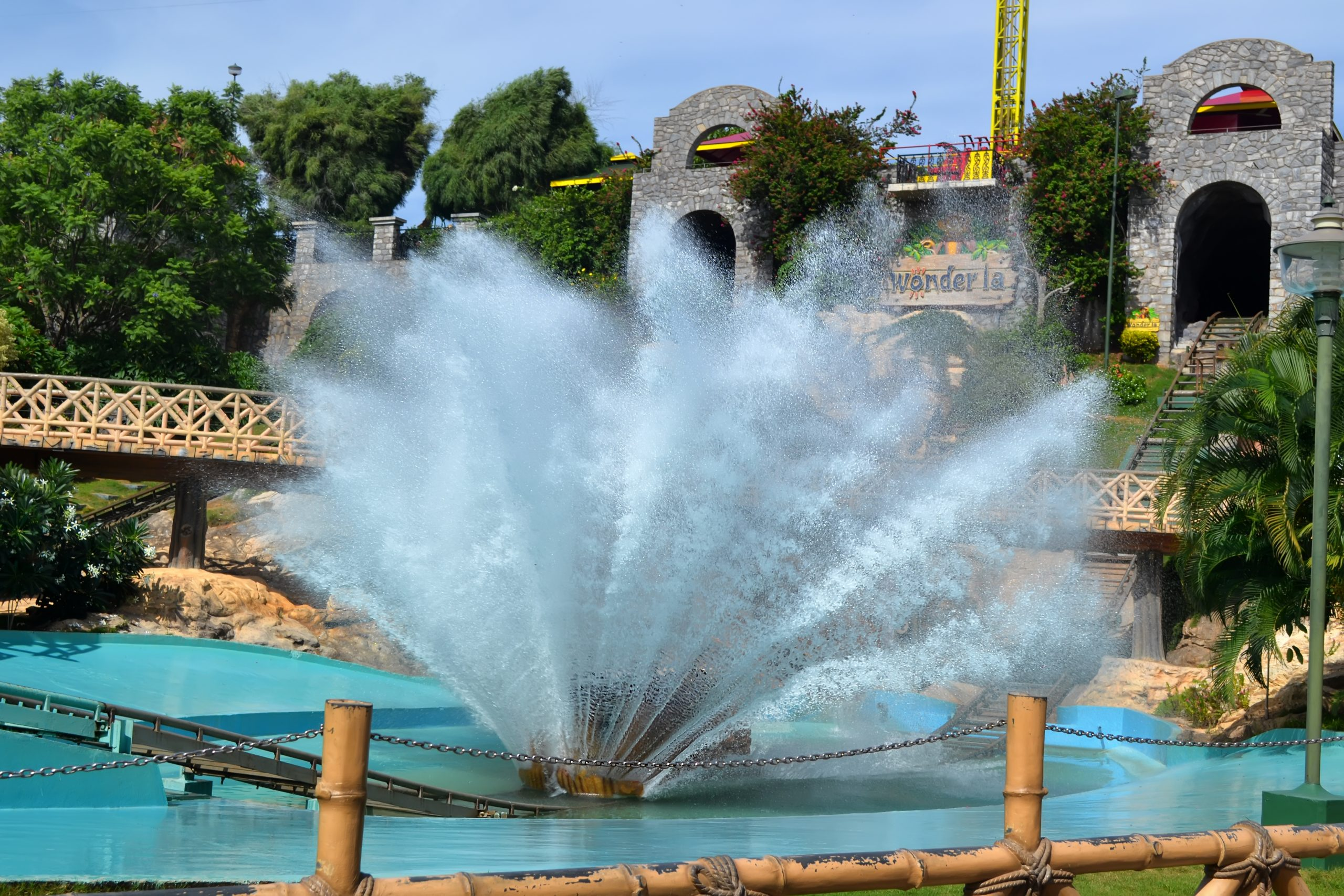 A fountain in Wonderla National Park
