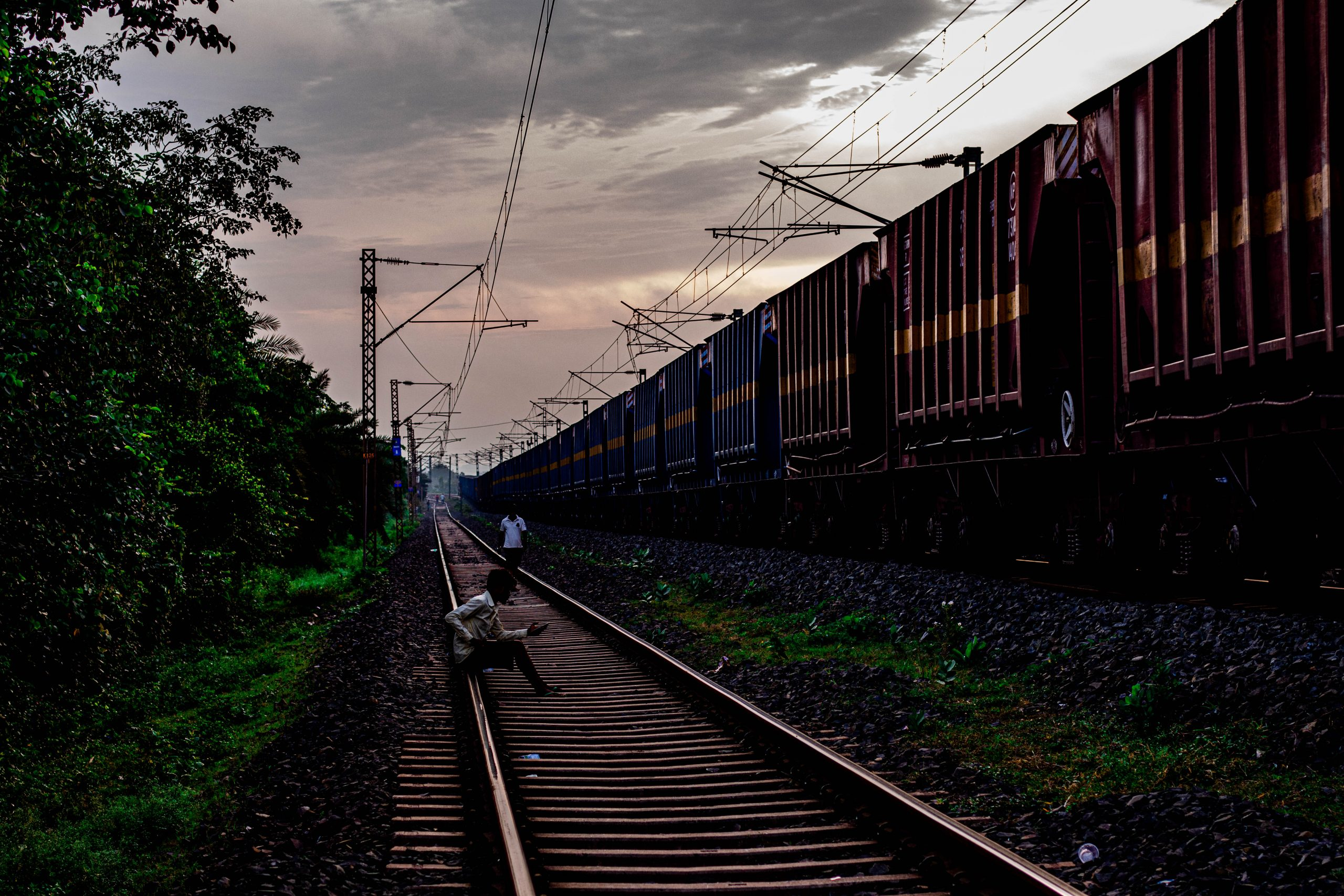 A freight train passing