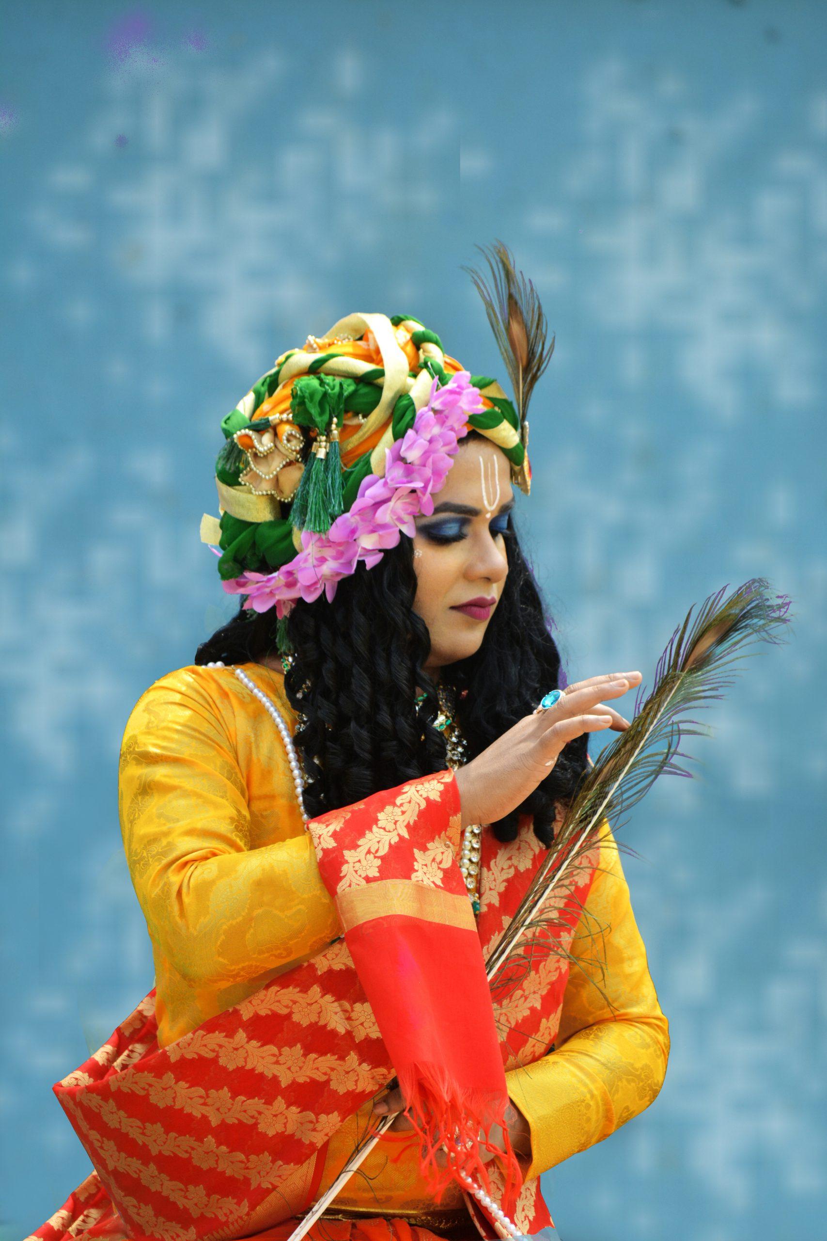 A girl in Krishna costume