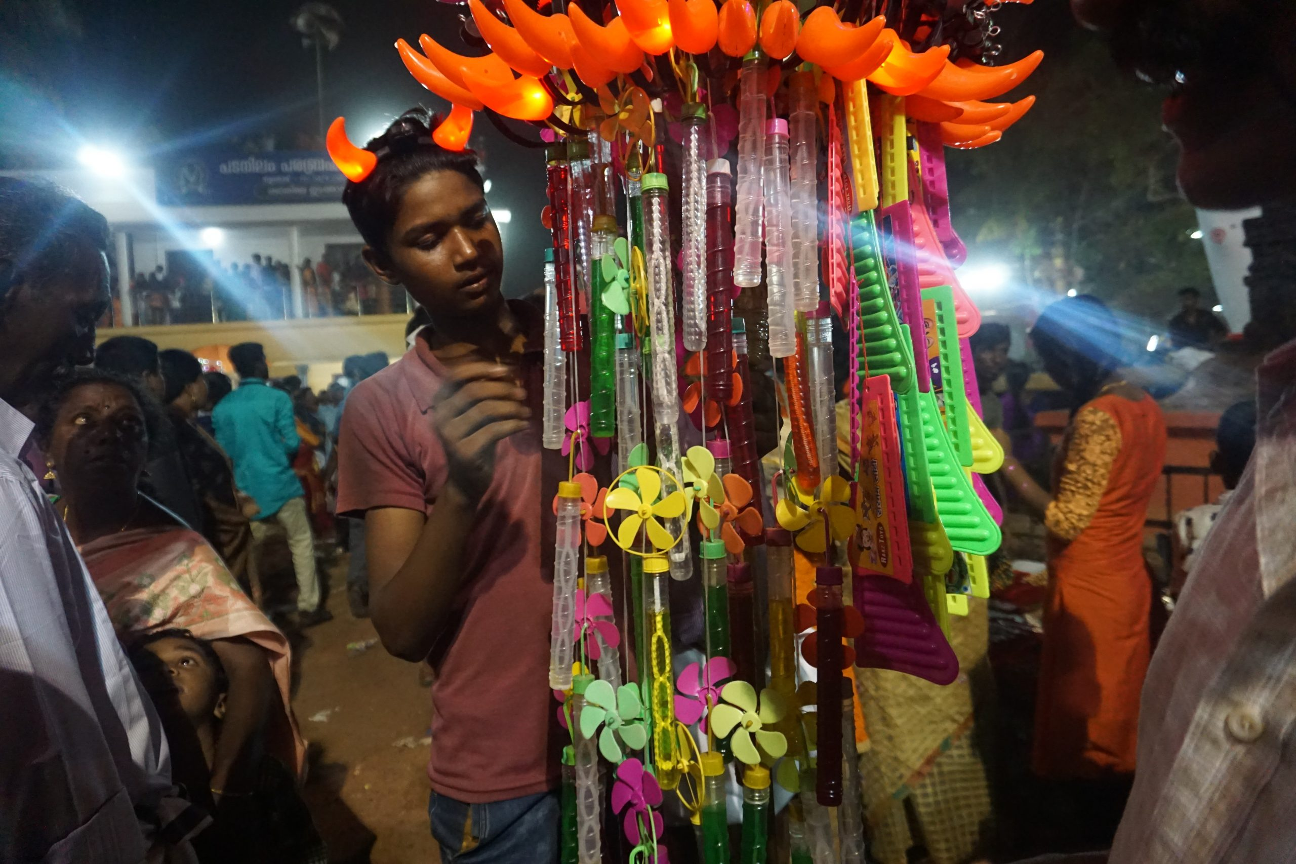 A hawker selling toys