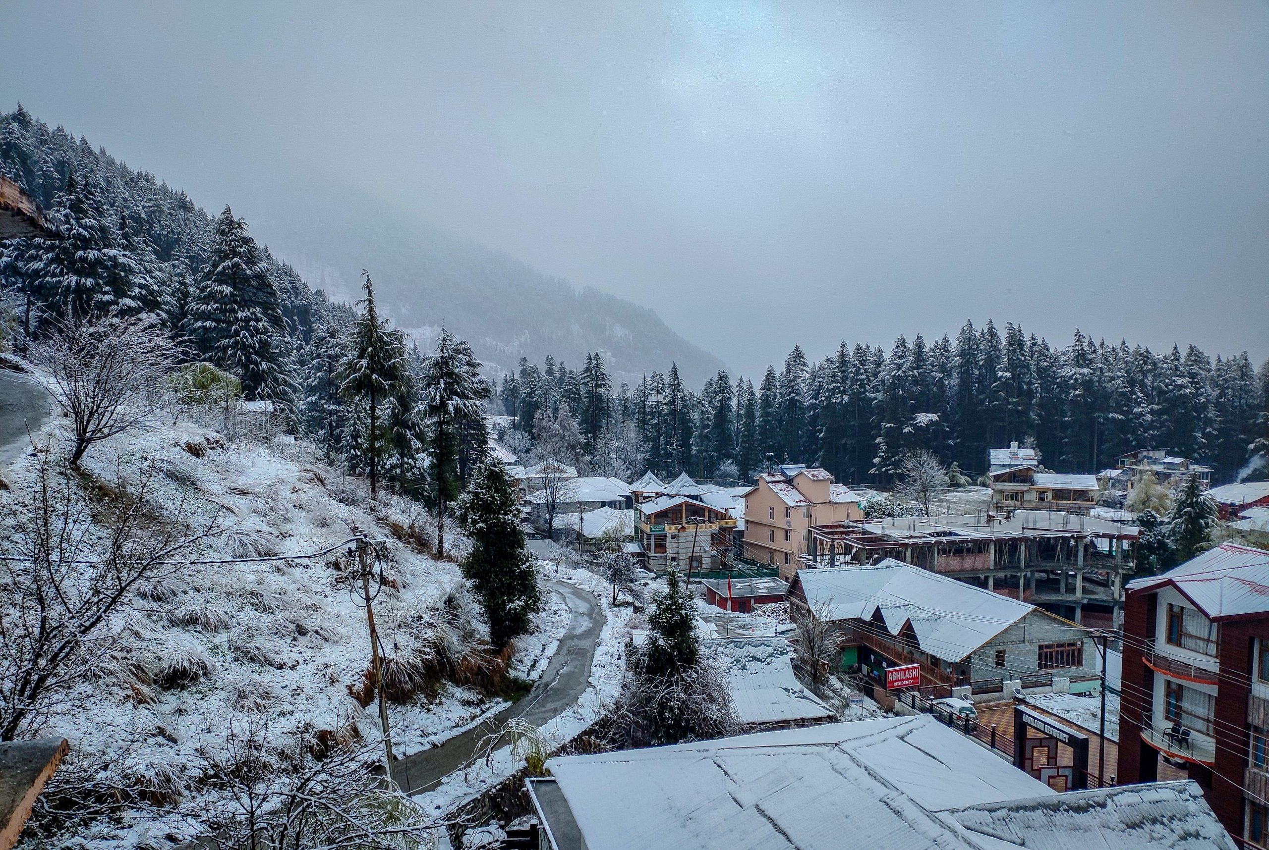 A hill town covered with snow