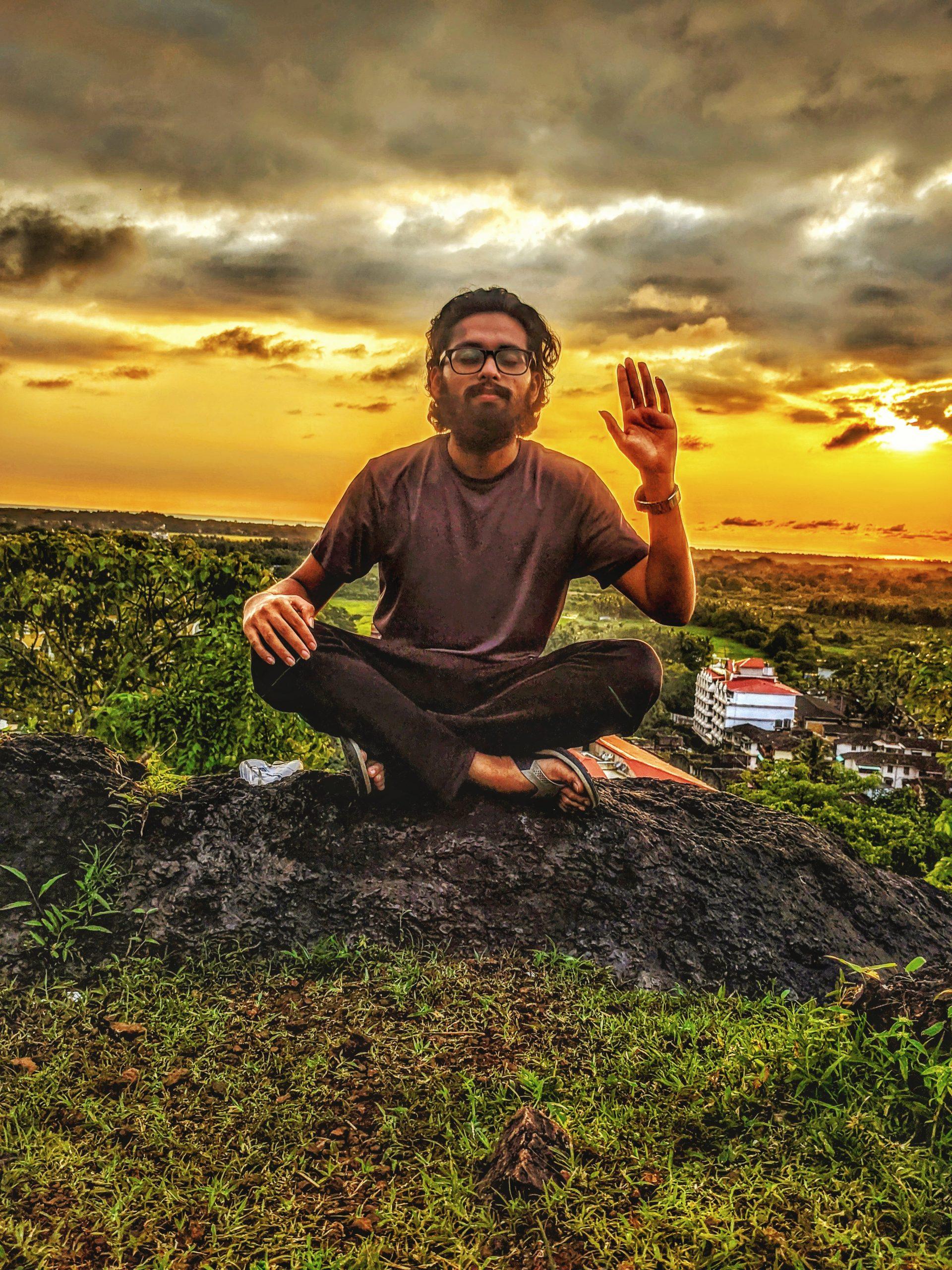A man in meditation posture