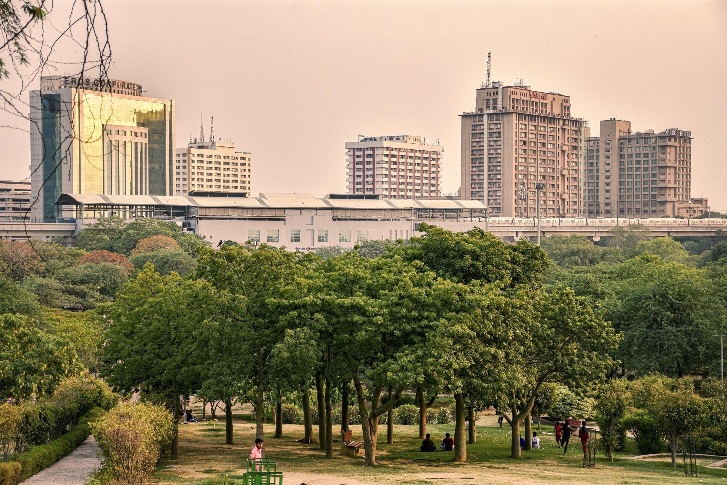 A park behind buildings