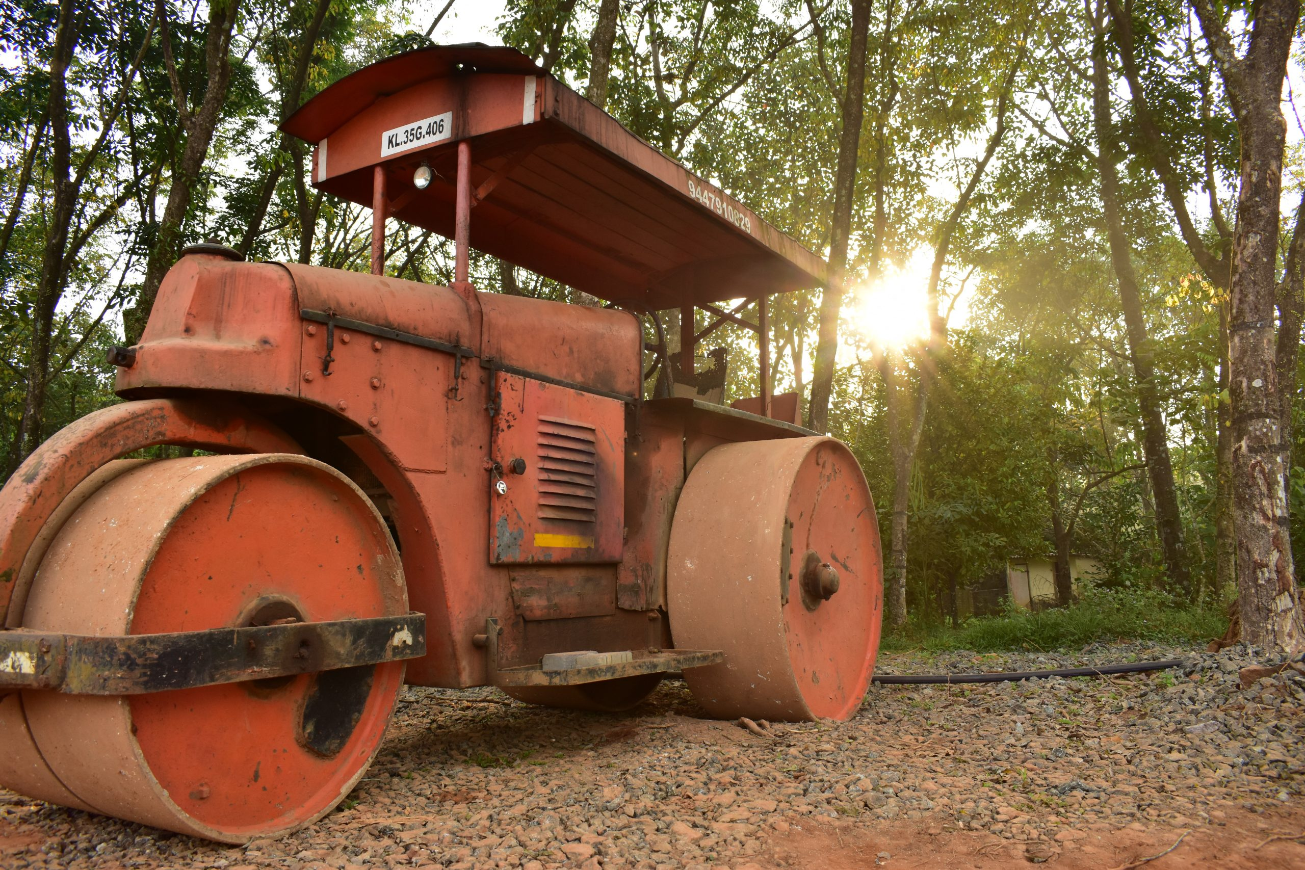 A road roller in a forest