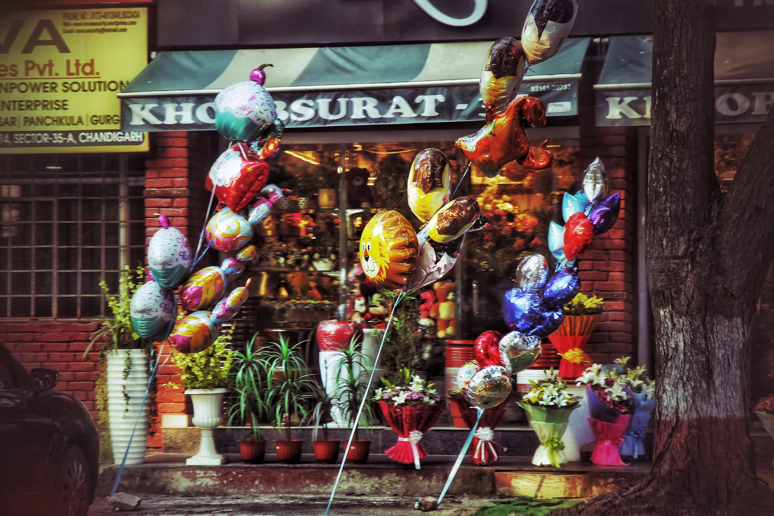 A shop of inflated toys