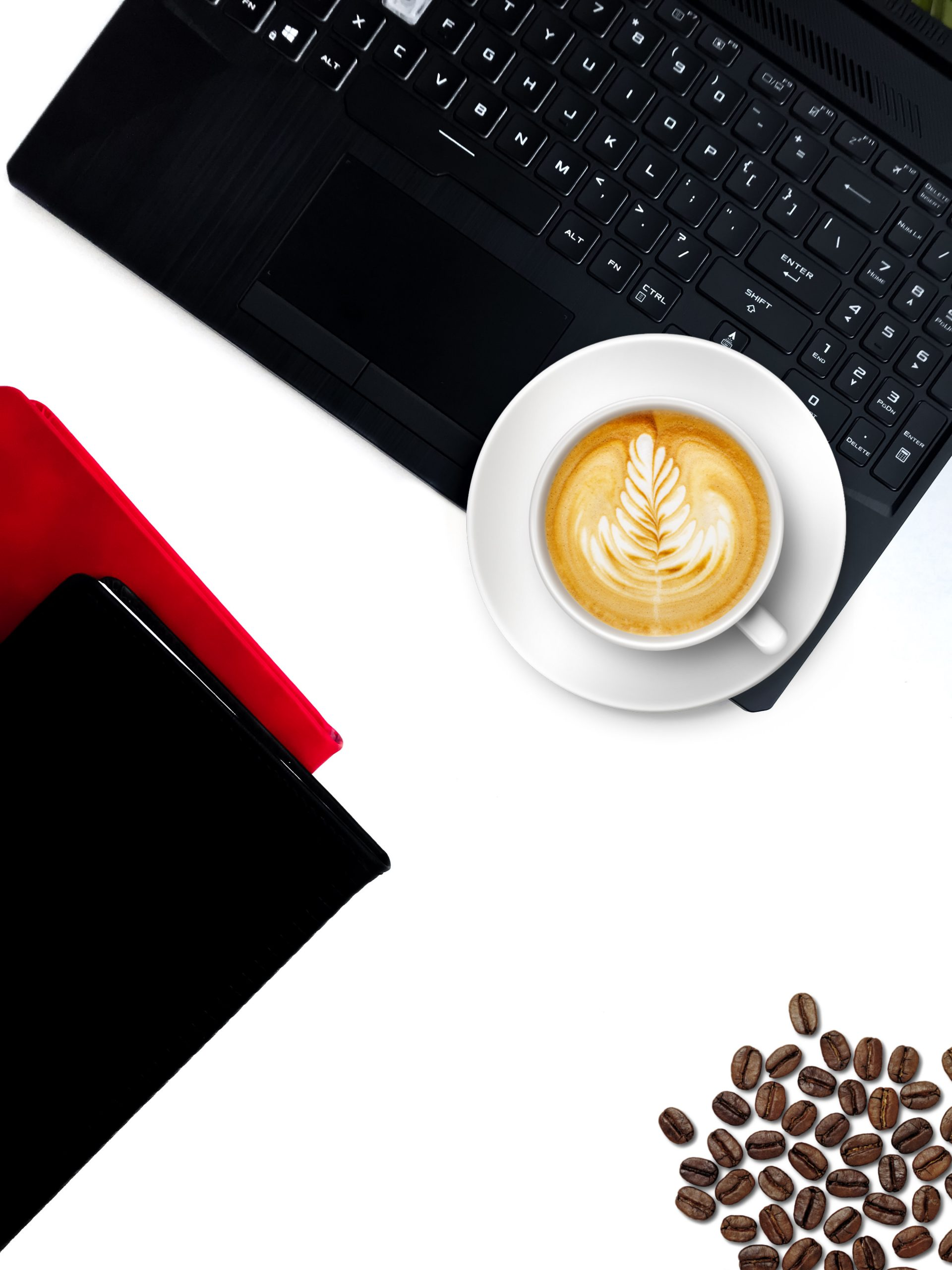 Laptop and Latte art