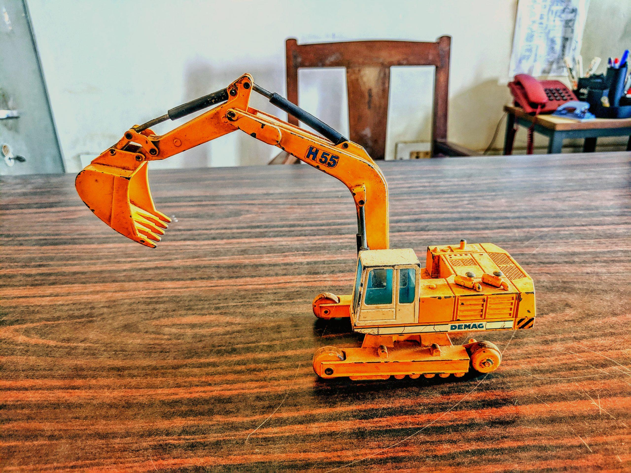 A toy excavator