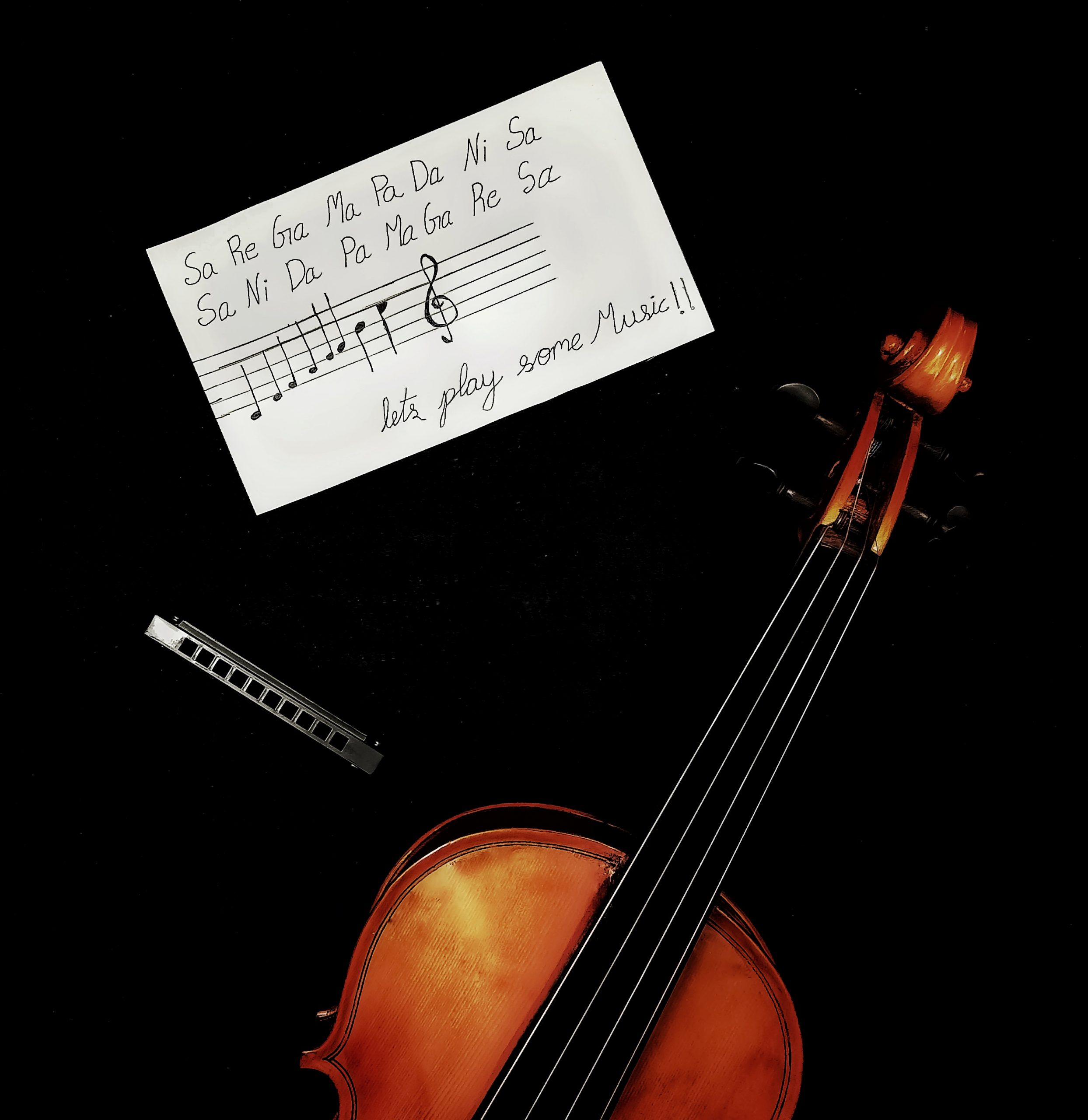 A violin with music notes