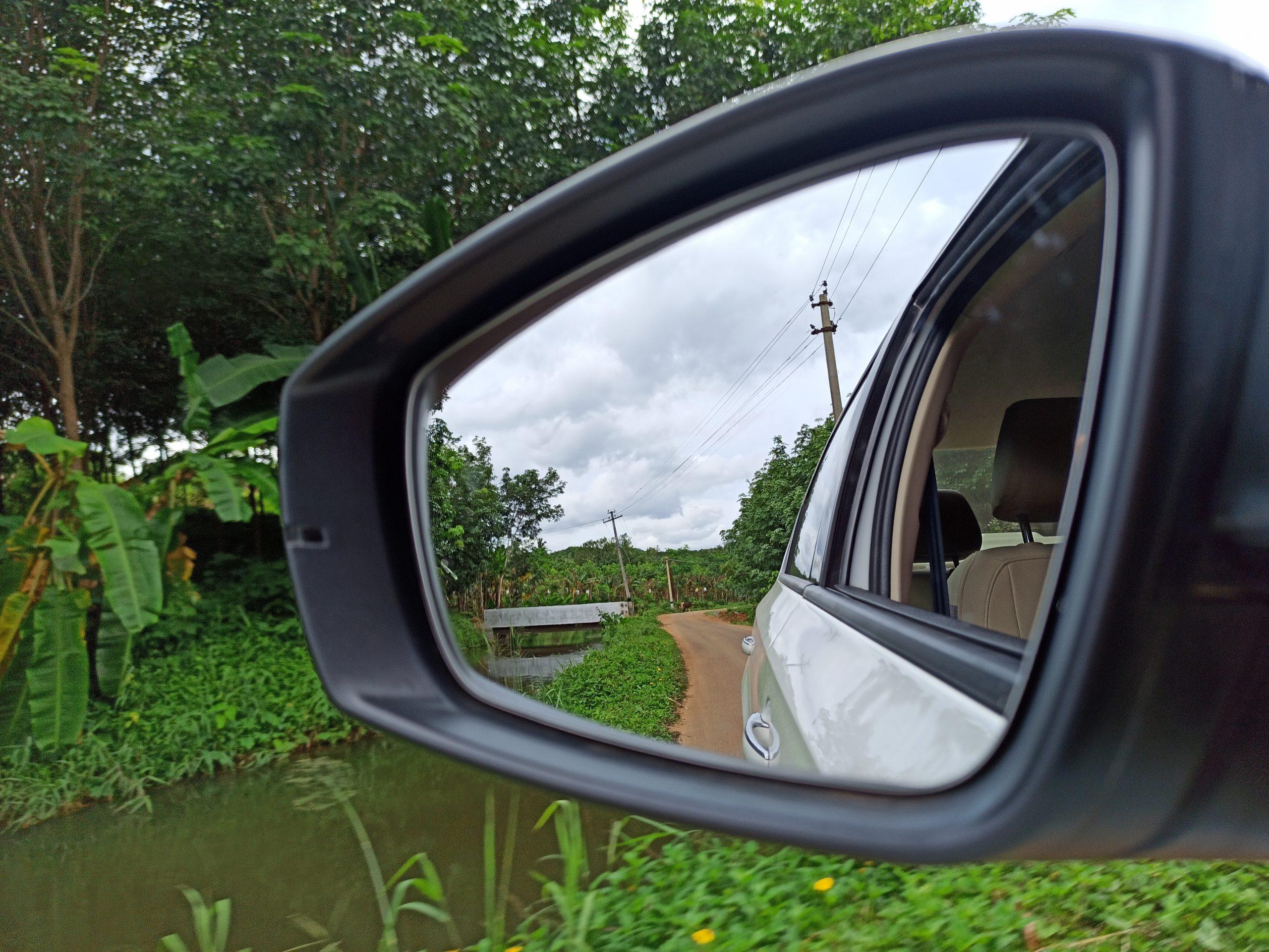 Admiring nature through mirror