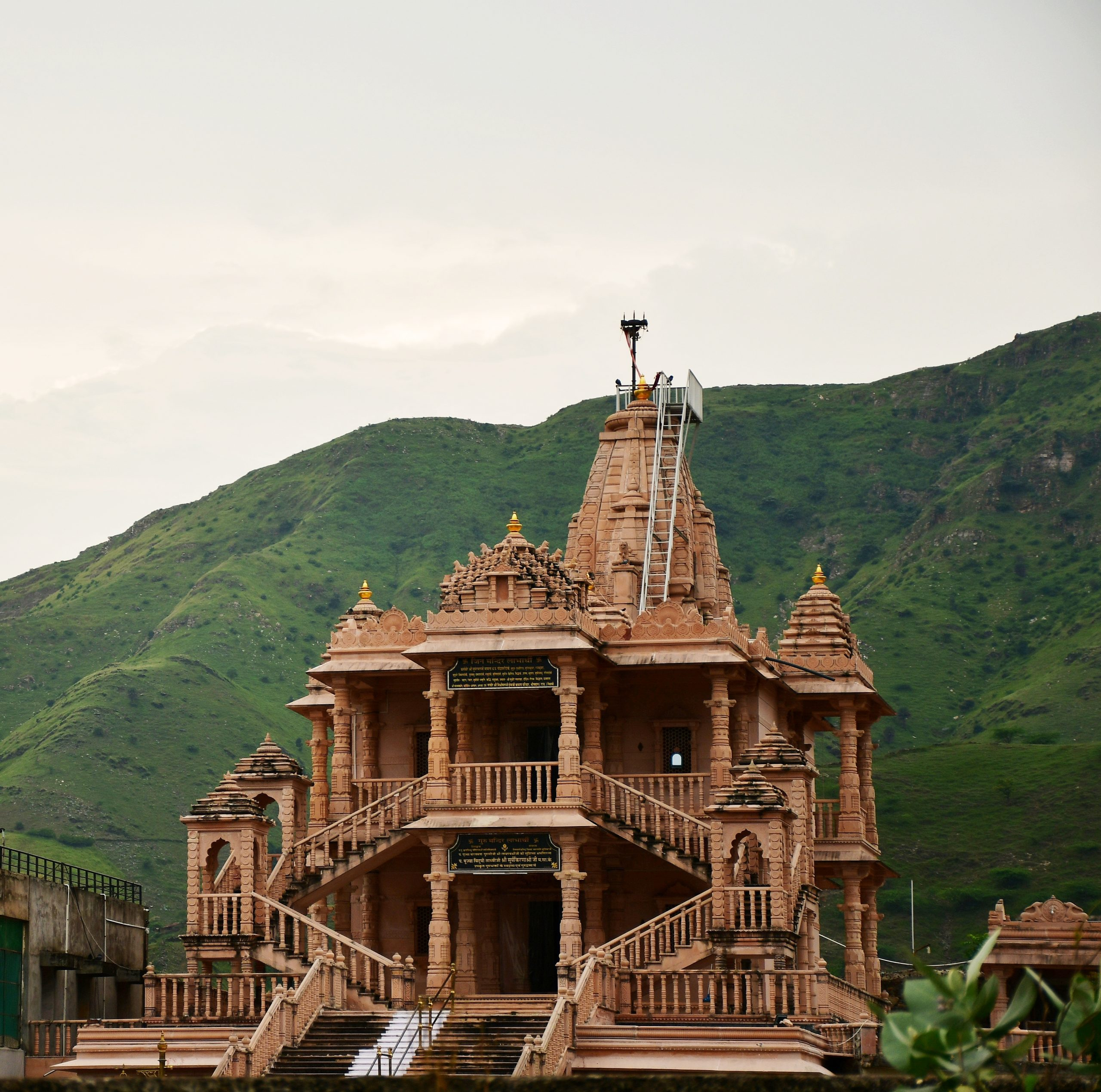 An old temple under mountains