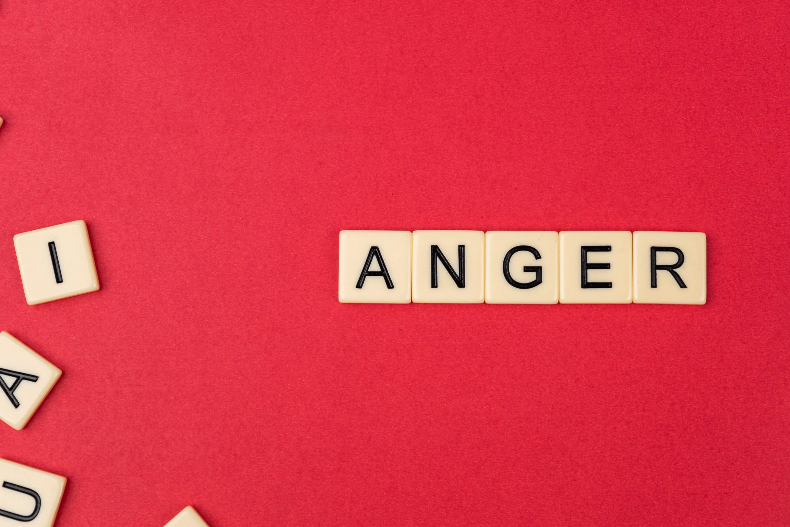 Anger written with scrabble