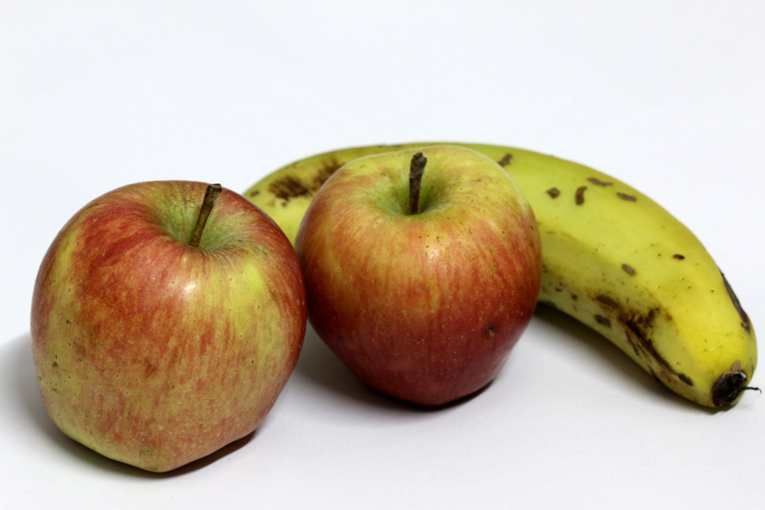 Apple and Banana in White Background