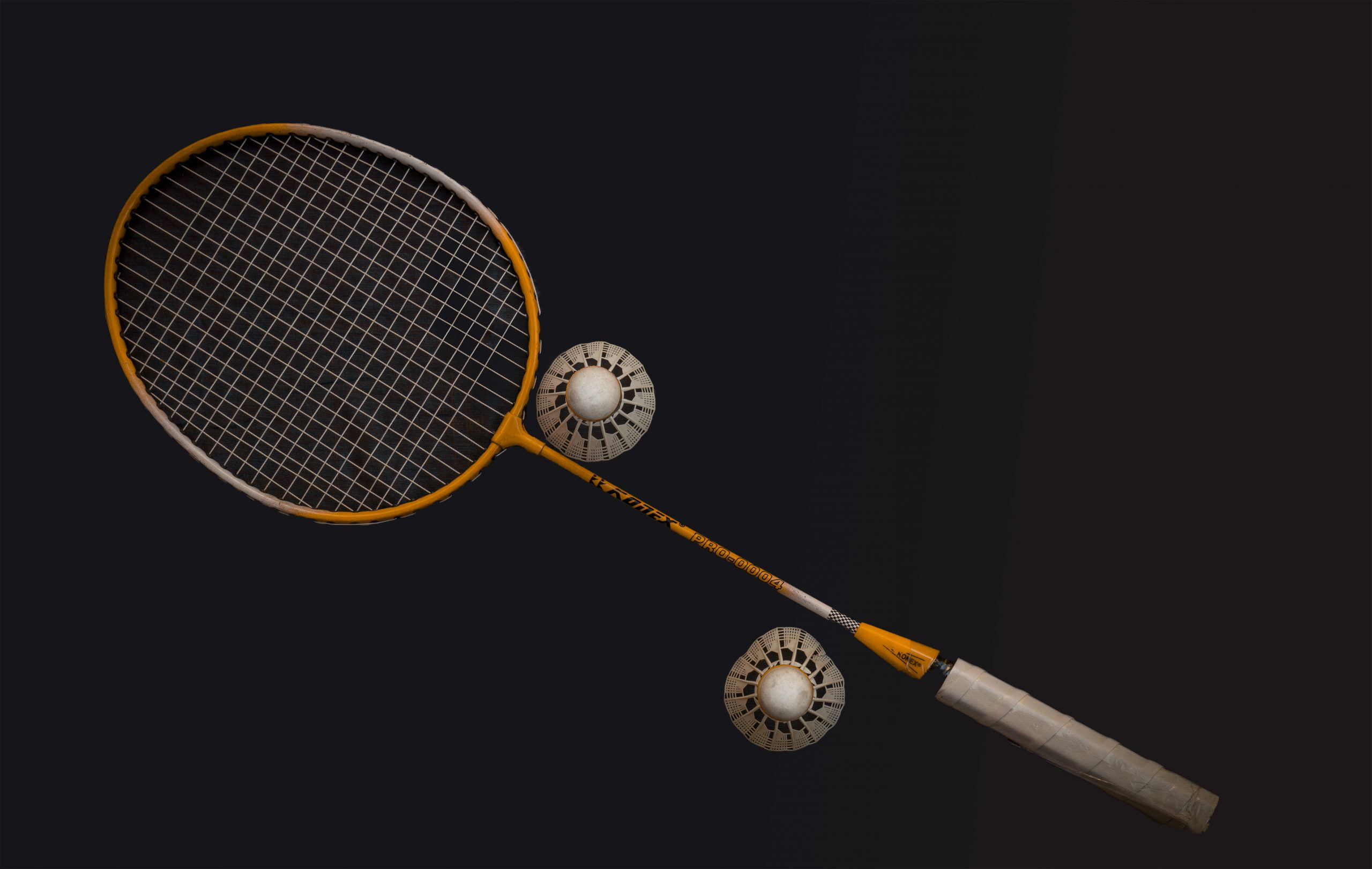 Badminton and shuttlecocks