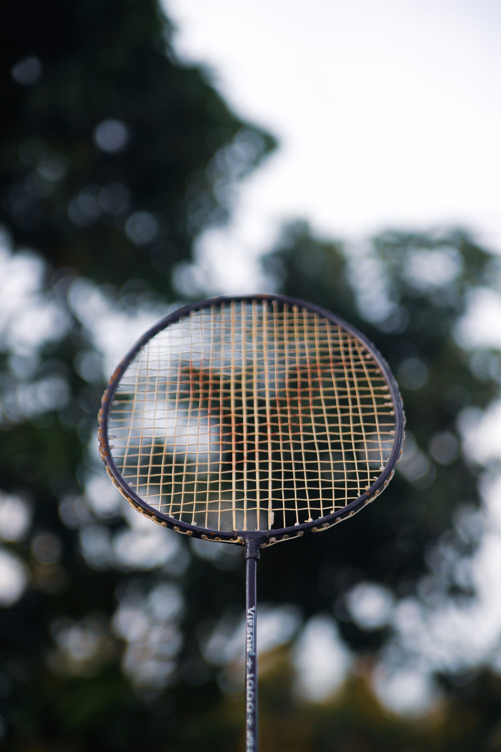 Badminton racket on focus