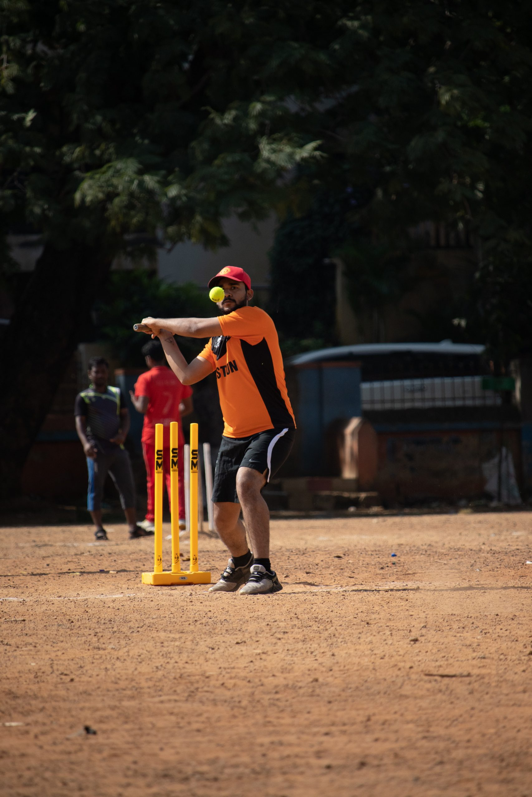 Batsman about to play pull shot