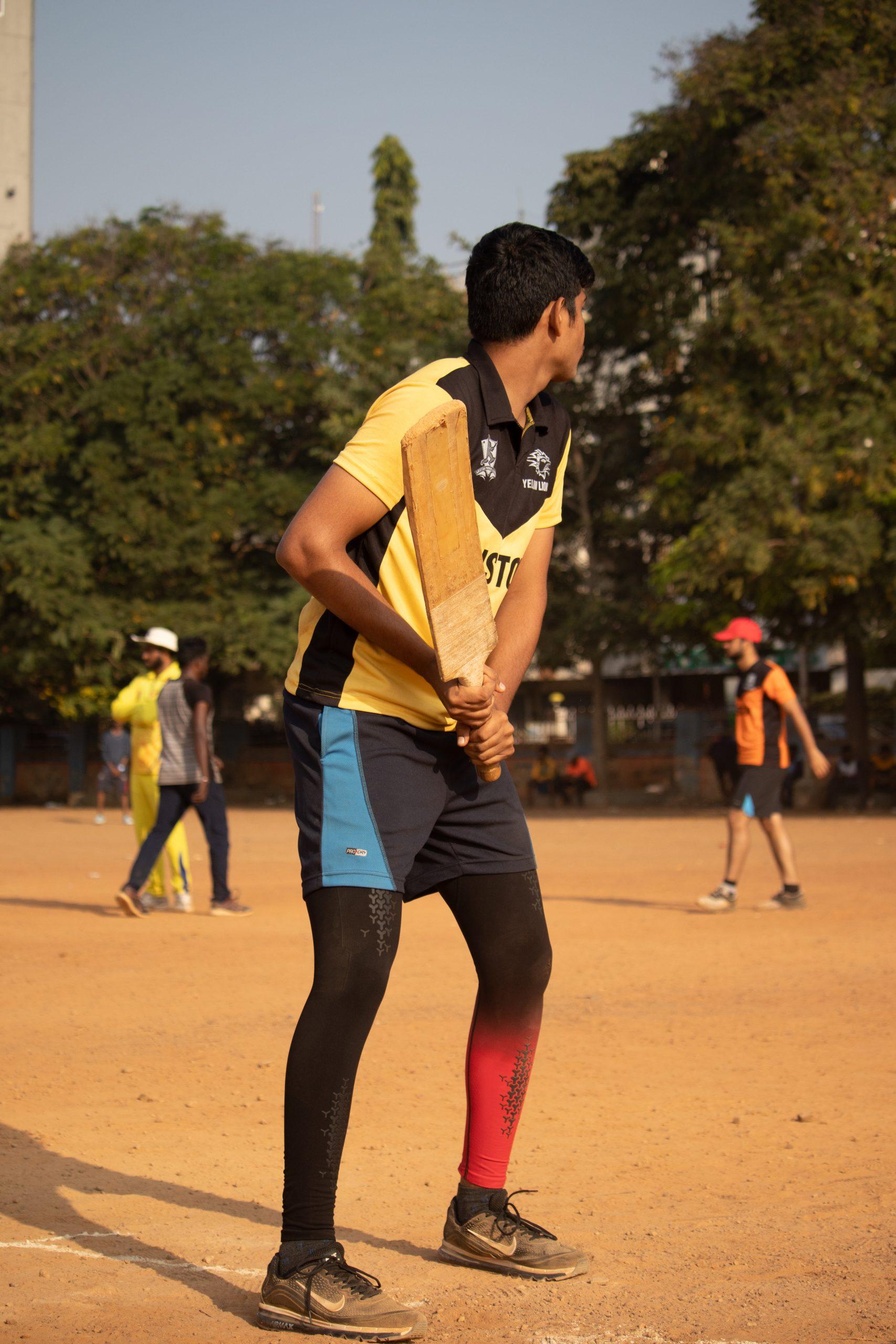 Batsman practicing before match
