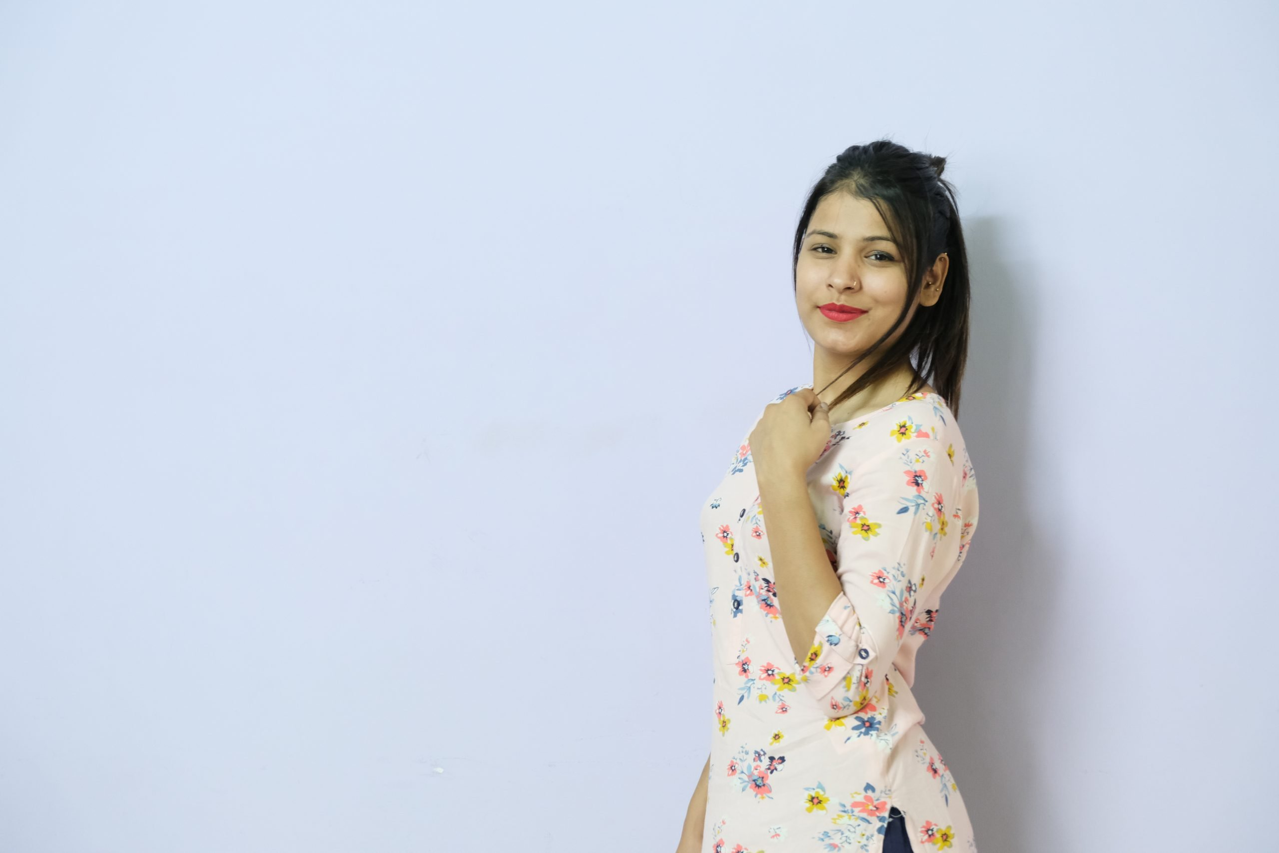 Beautiful Indian model isolated with white background