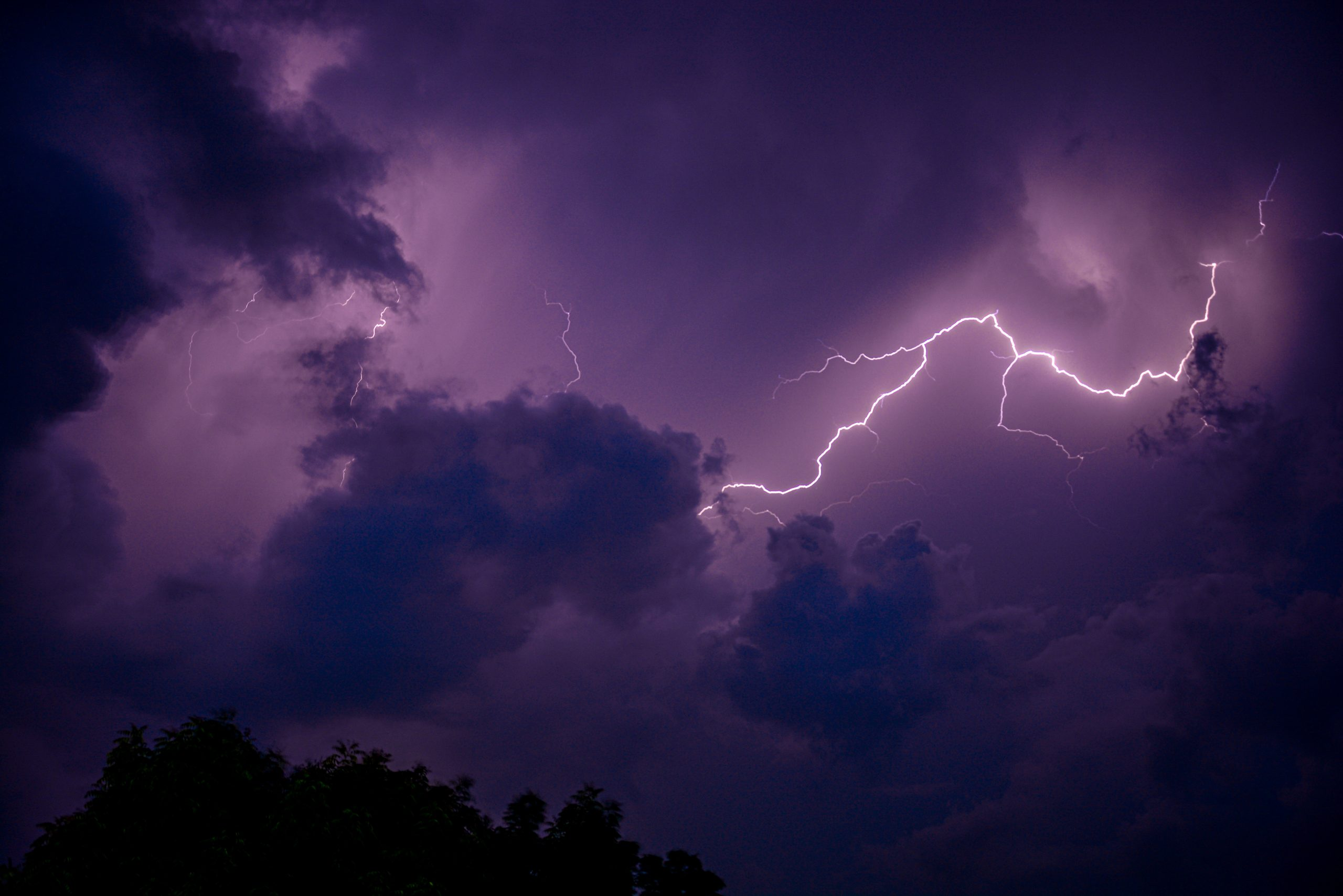 Beautiful lightning in the sky