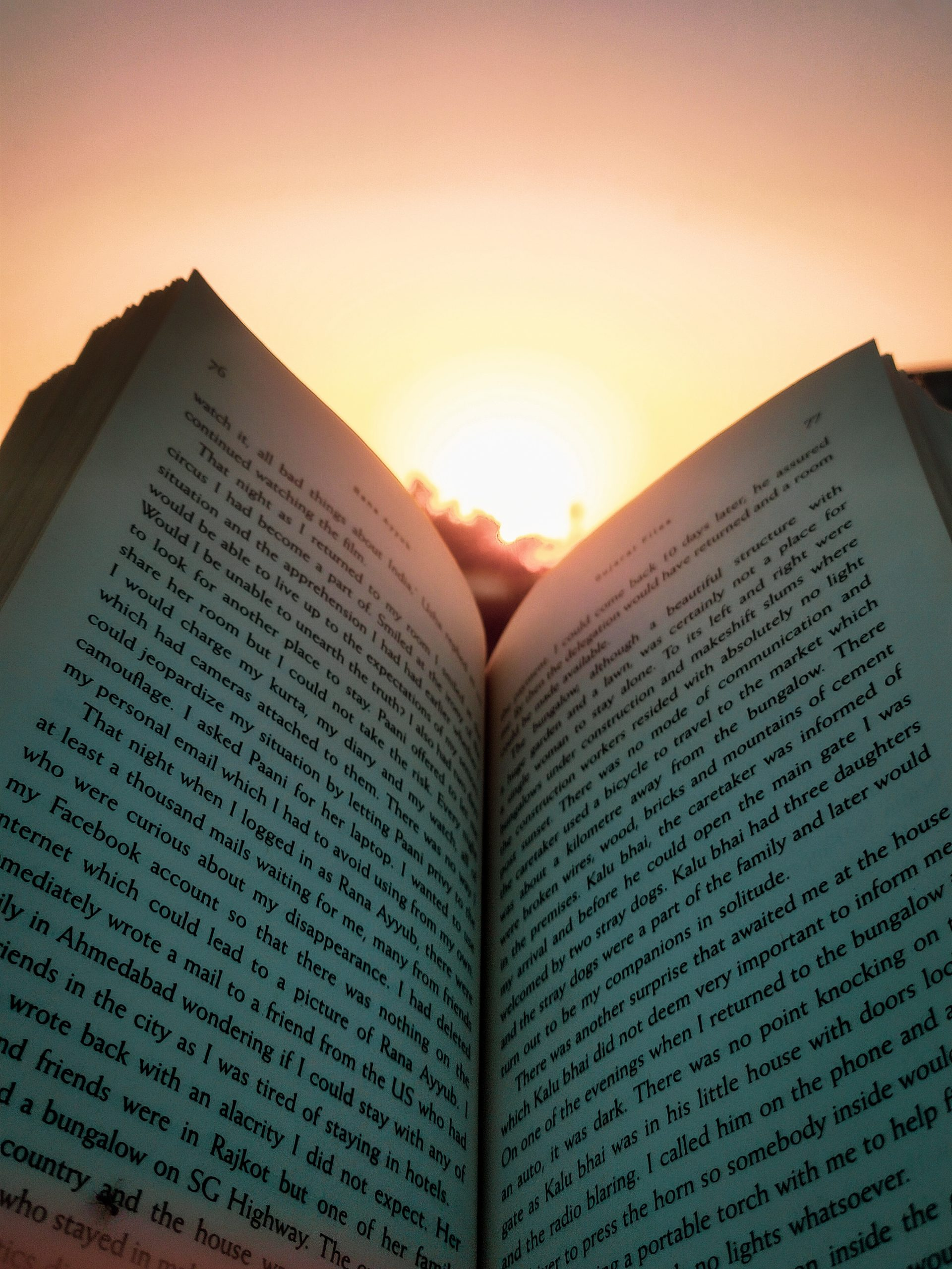 Sunset while reading a book