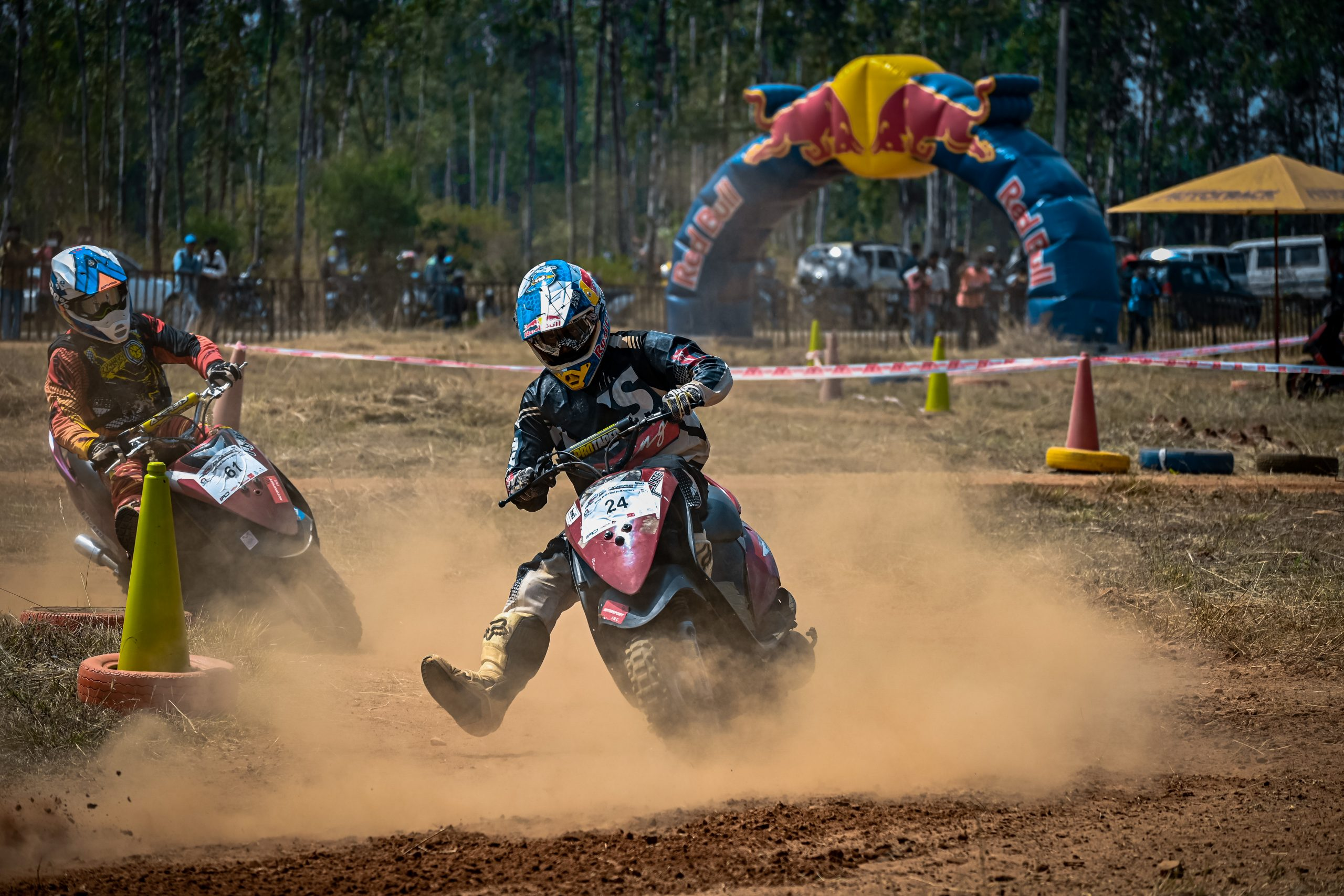 Bike racing in dirt road