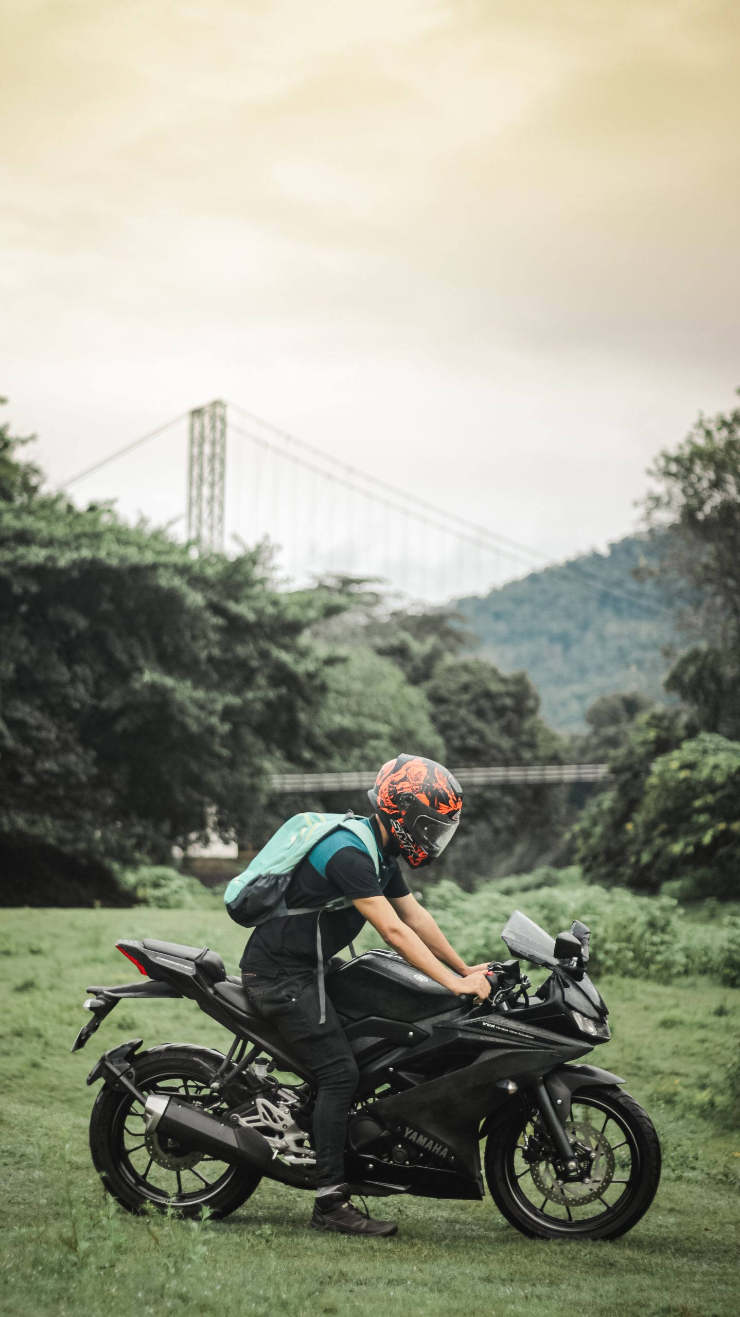 Biker with an amazing background