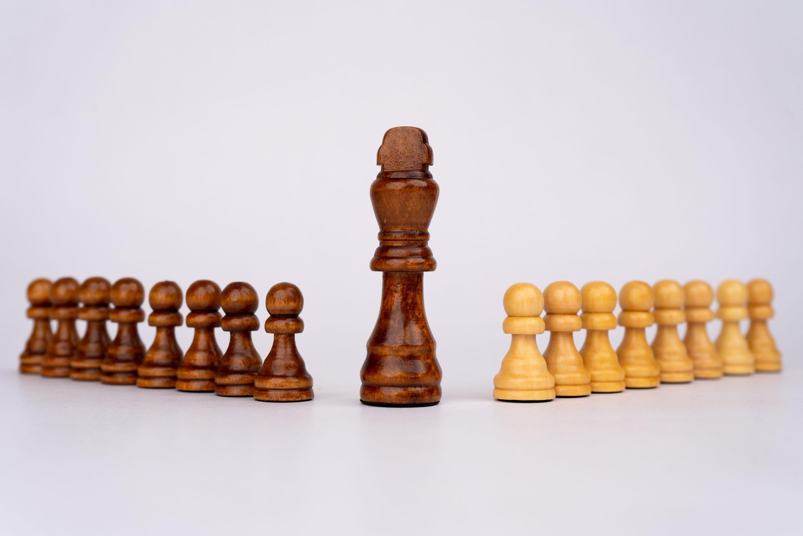 Black king in center