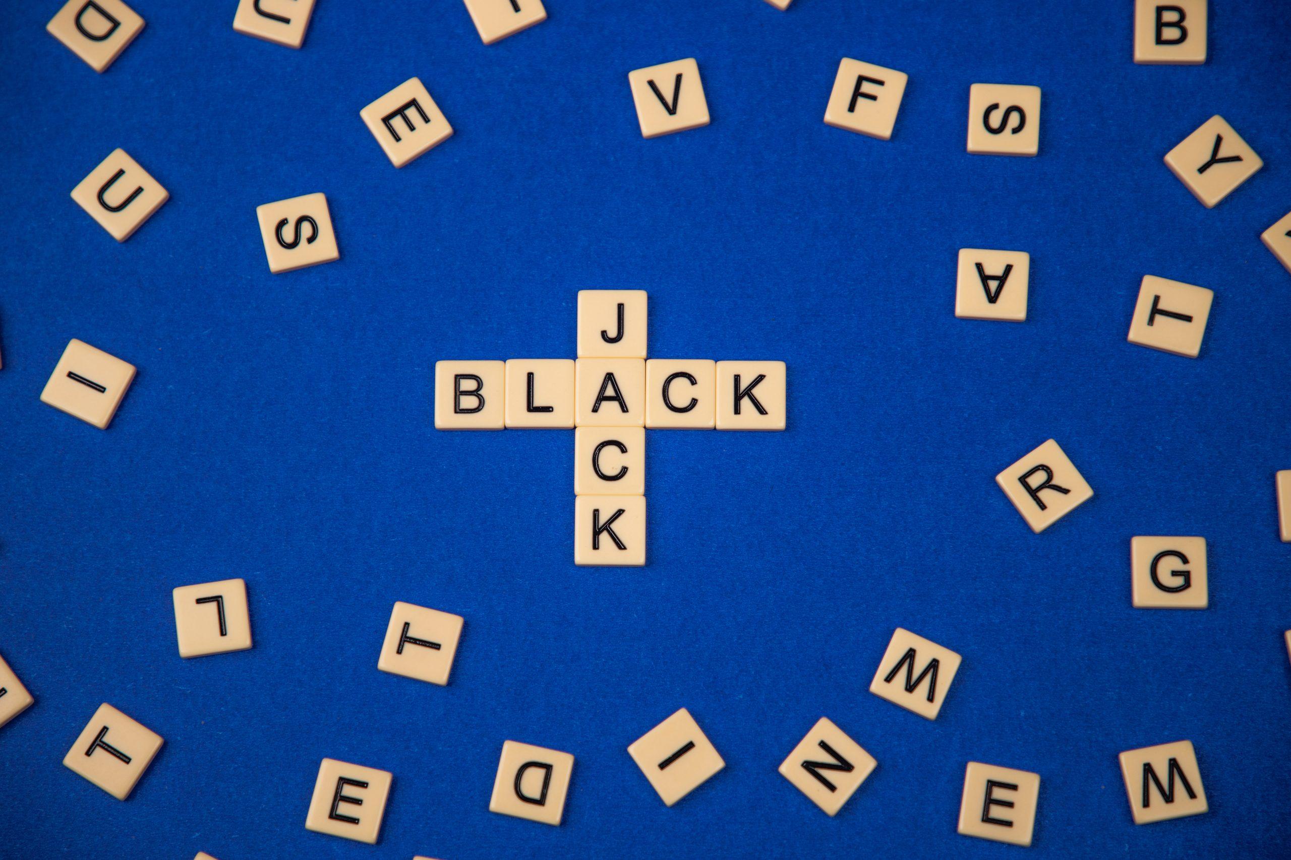 Blackjack written with scrabble