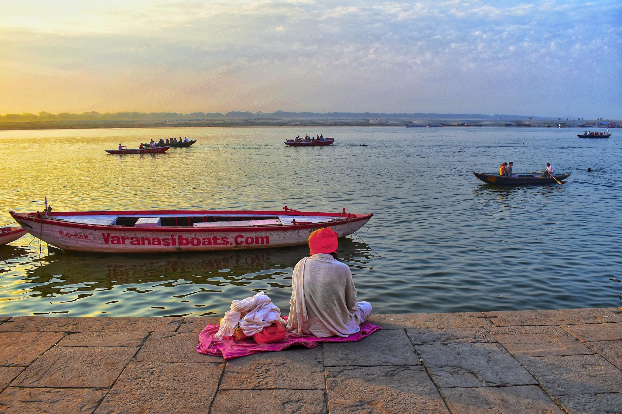 Boats floating in sacred river