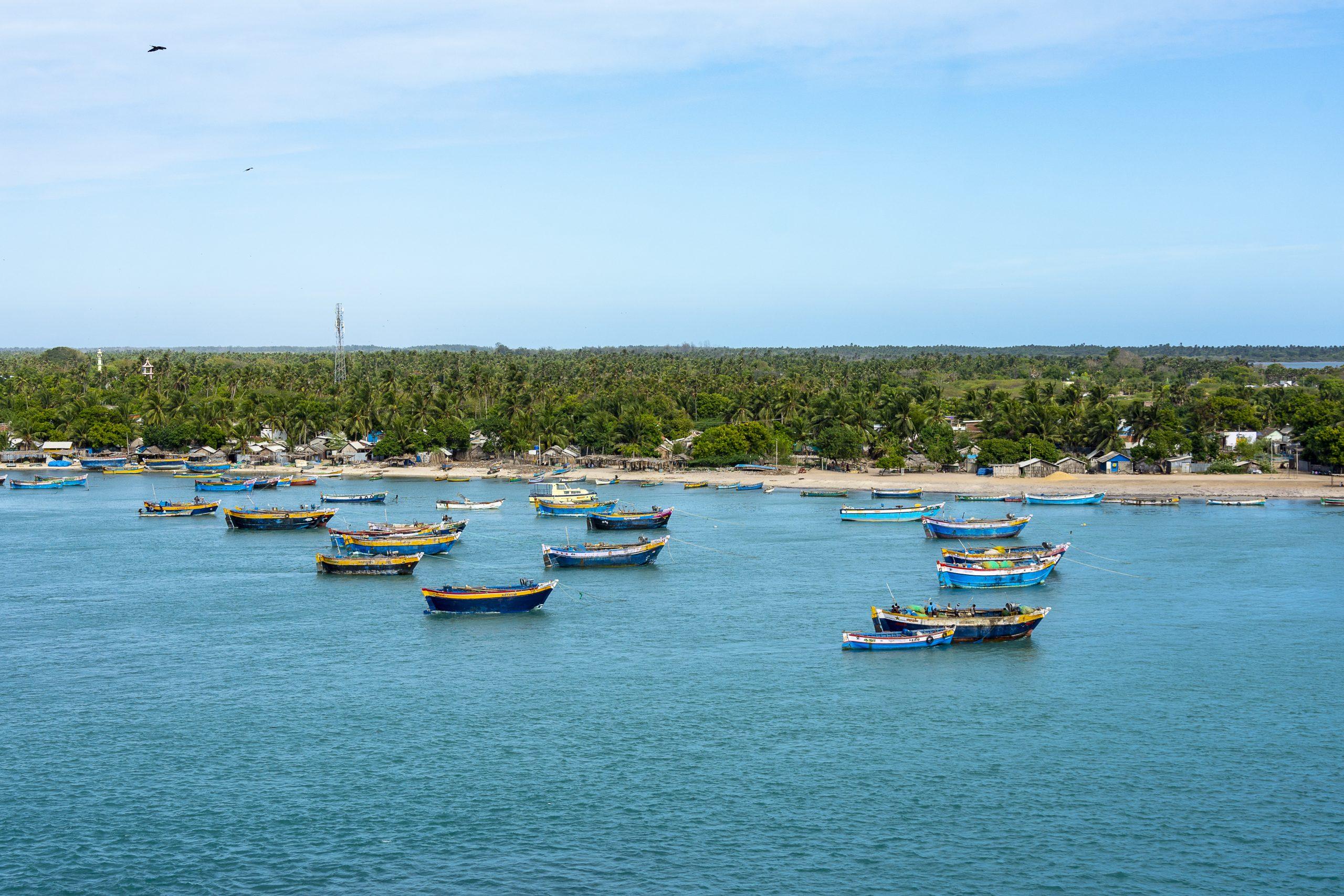 Boats in the sea in Rameswaram