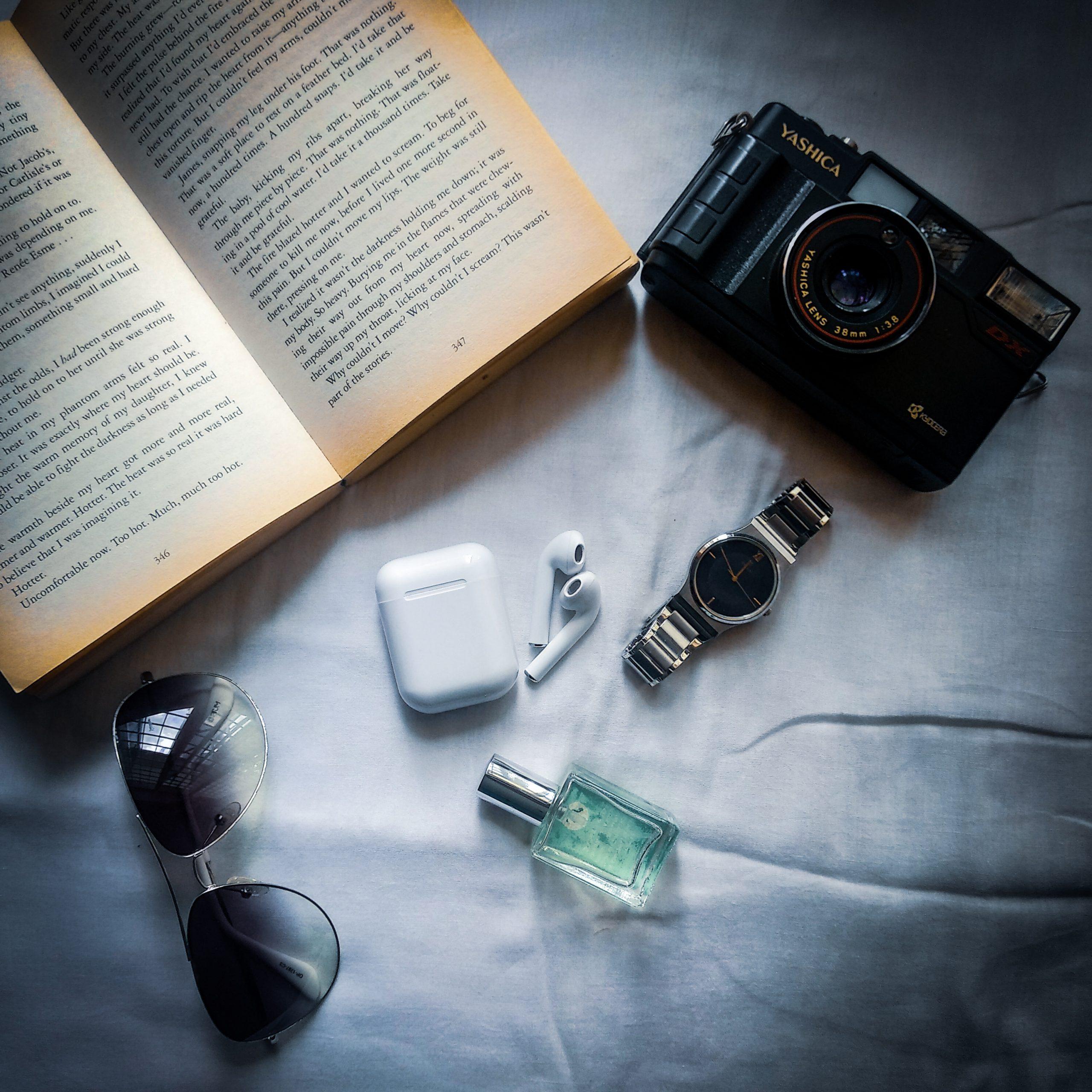 Book, camera and accessories