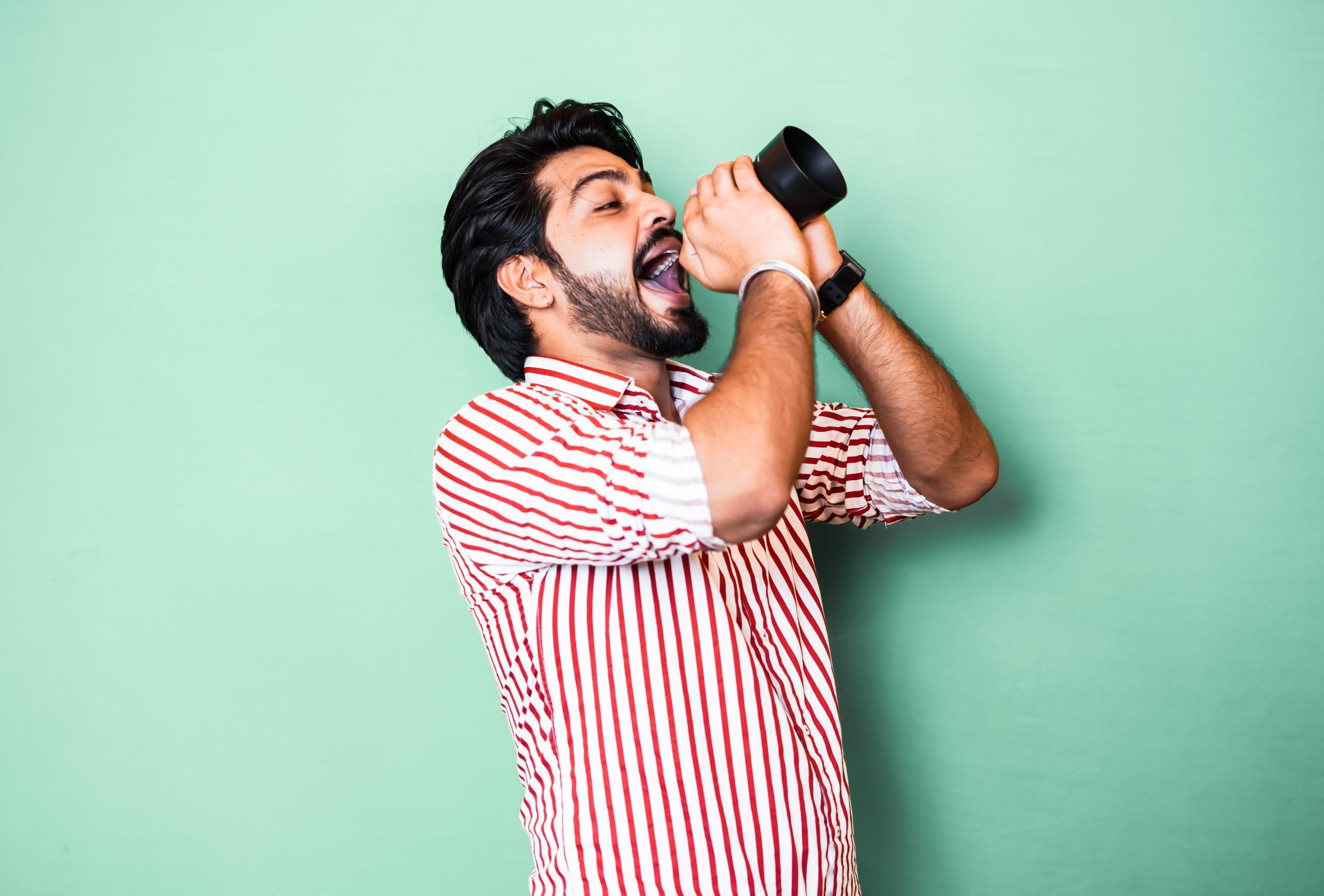 Boy in singing action