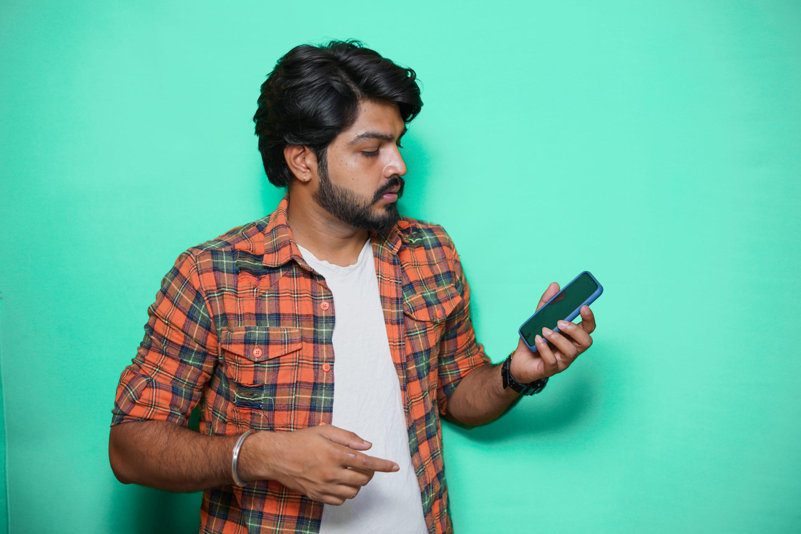 Man looking at his smartphone