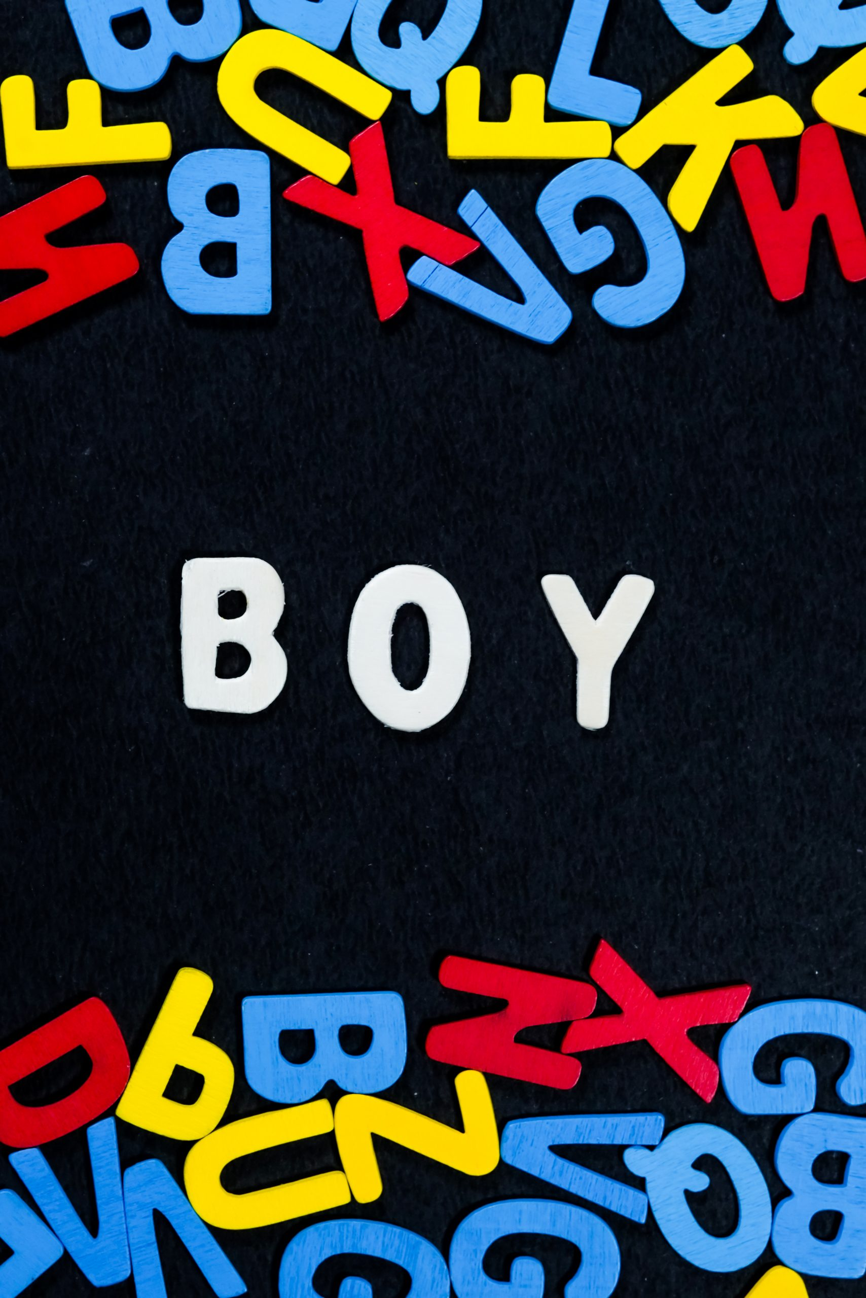 Boy written with scrabble